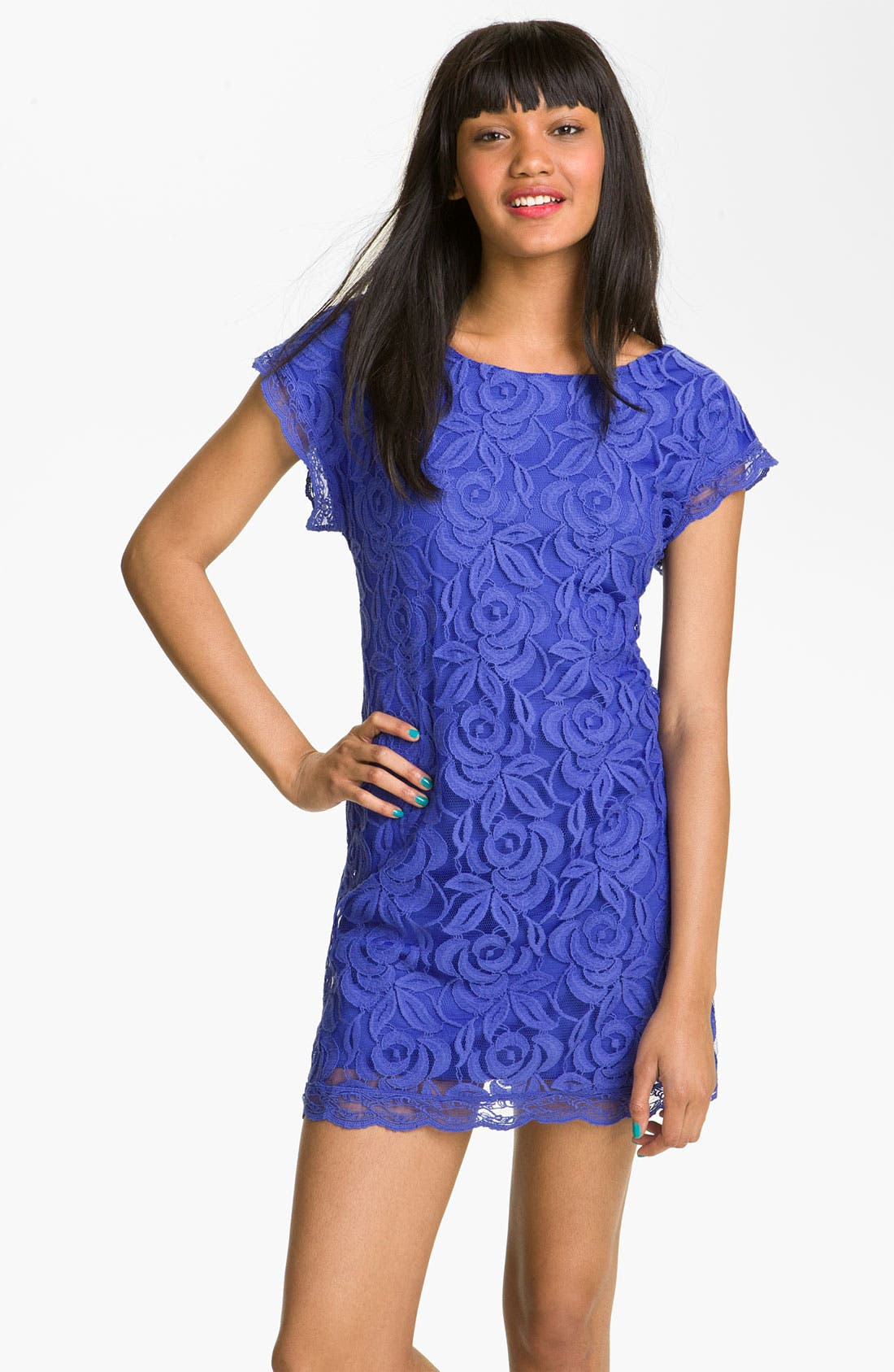 Alternate Image 1 Selected - Fire Lace Minidress (Juniors)