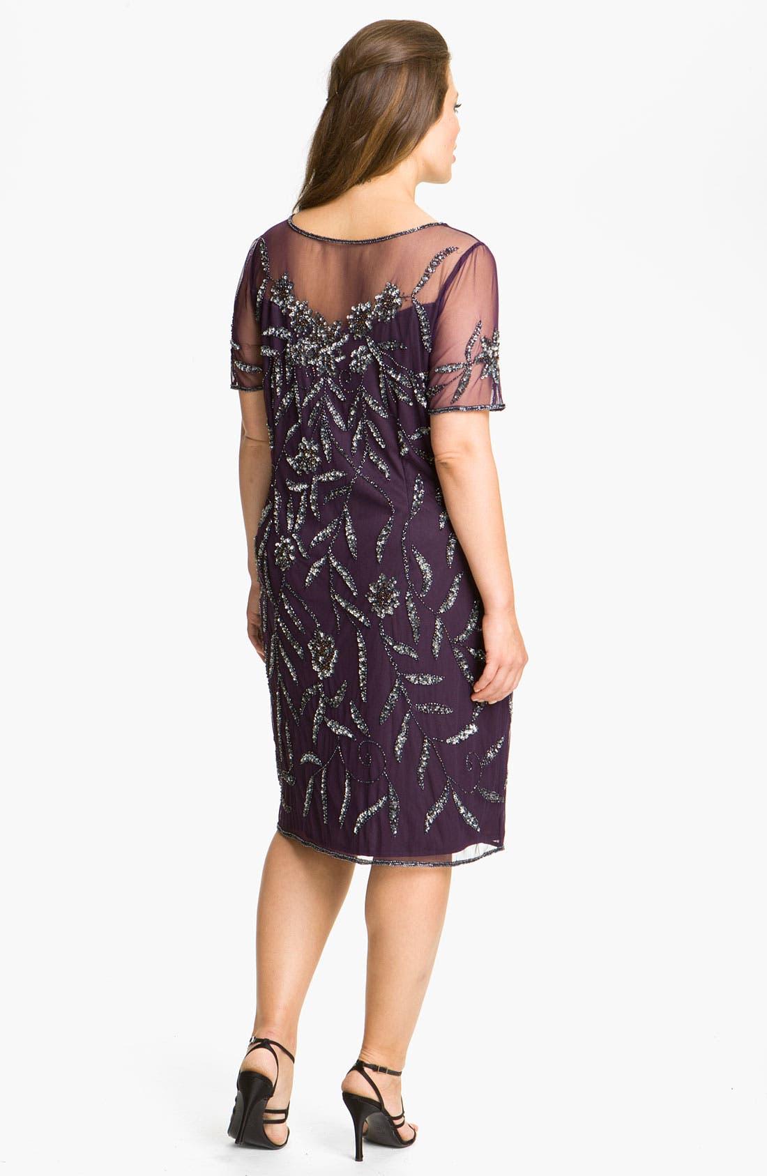 Alternate Image 2  - Pisarro Nights Beaded Illusion Dress (Plus)
