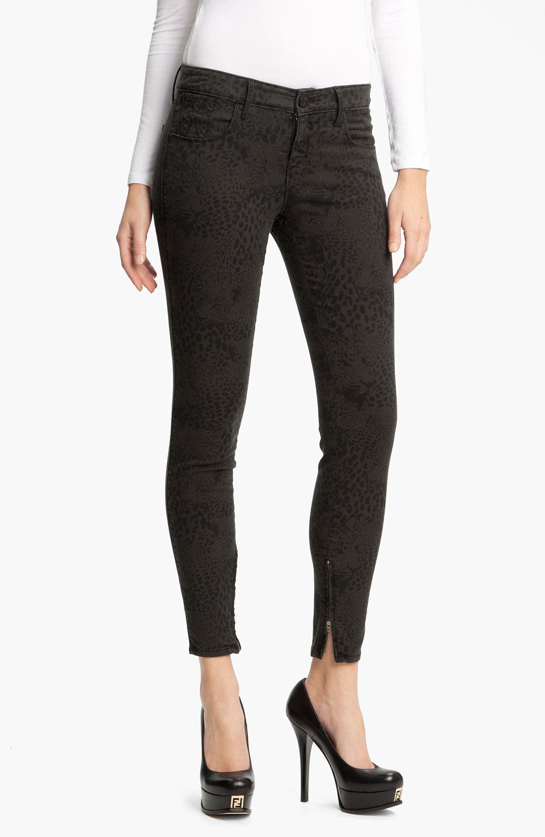 Main Image - Habitual 'Almas' Leopard Print Skinny Stretch Jeans