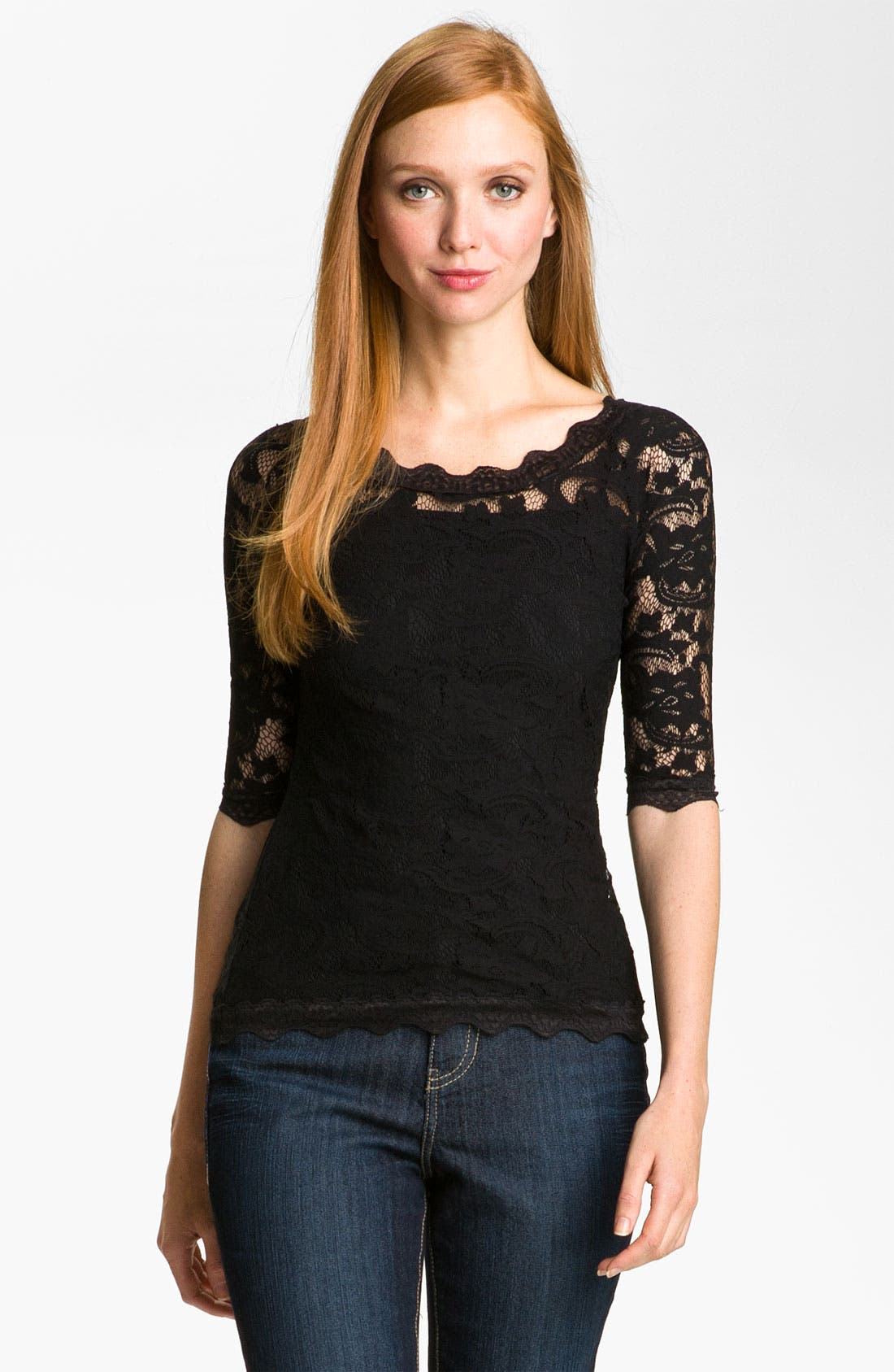 Alternate Image 1 Selected - Kische Elbow Sleeve Lace Top (Petite)