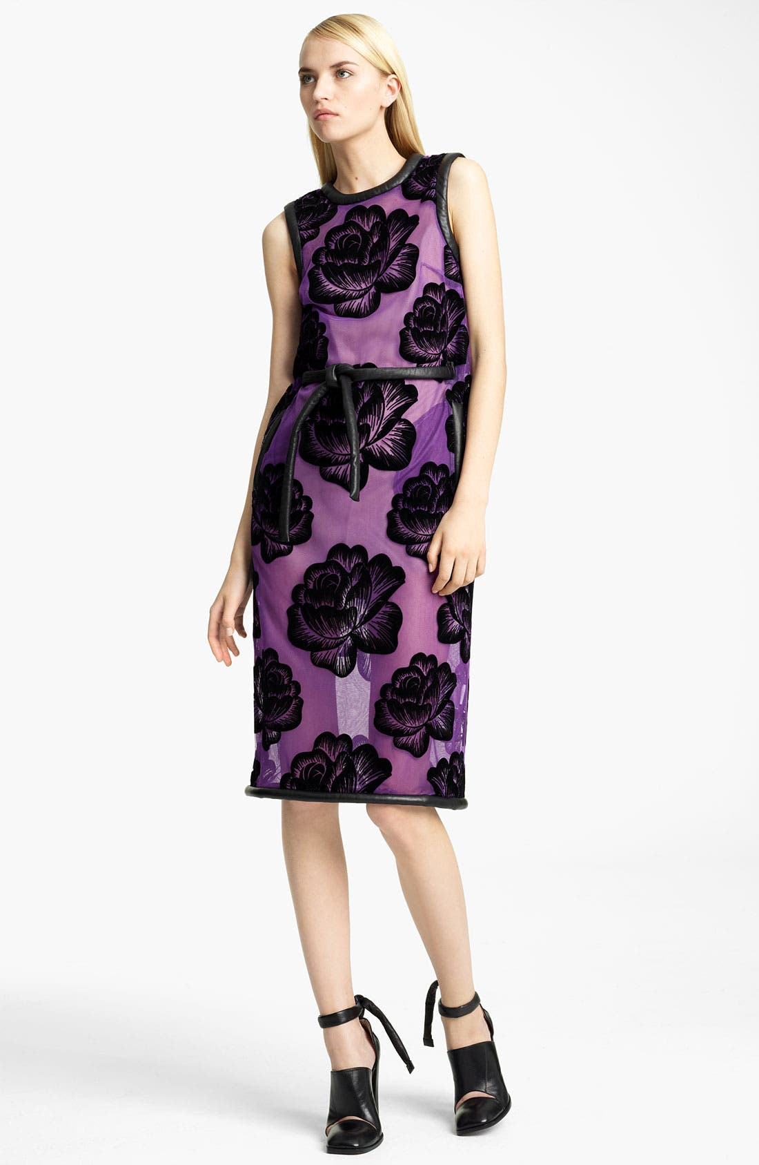 Main Image - Christopher Kane Tie Belt Rose Tulle Dress