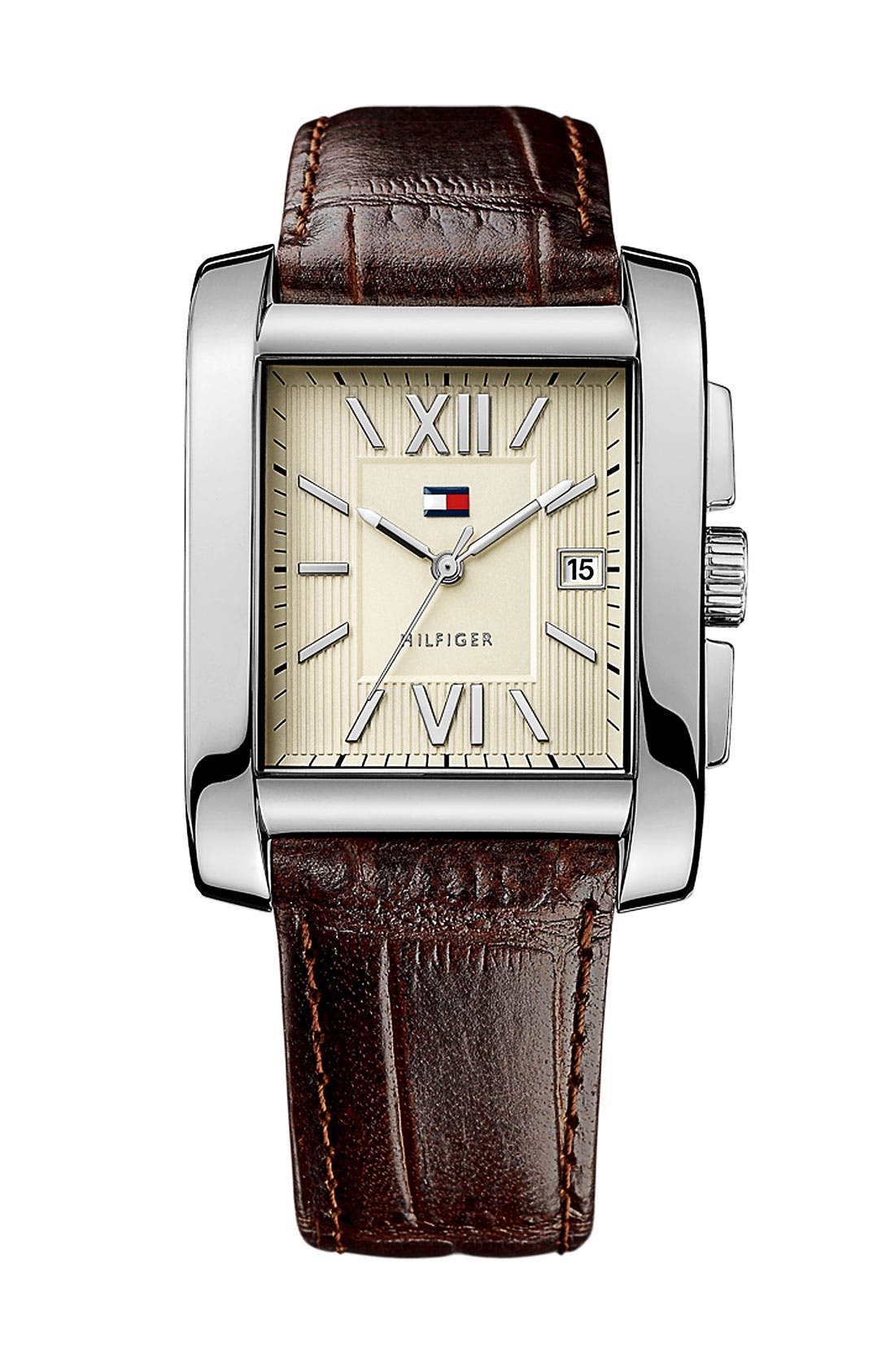 Main Image - Tommy Hilfiger Square Leather Strap Watch, 36mmW x 47mm