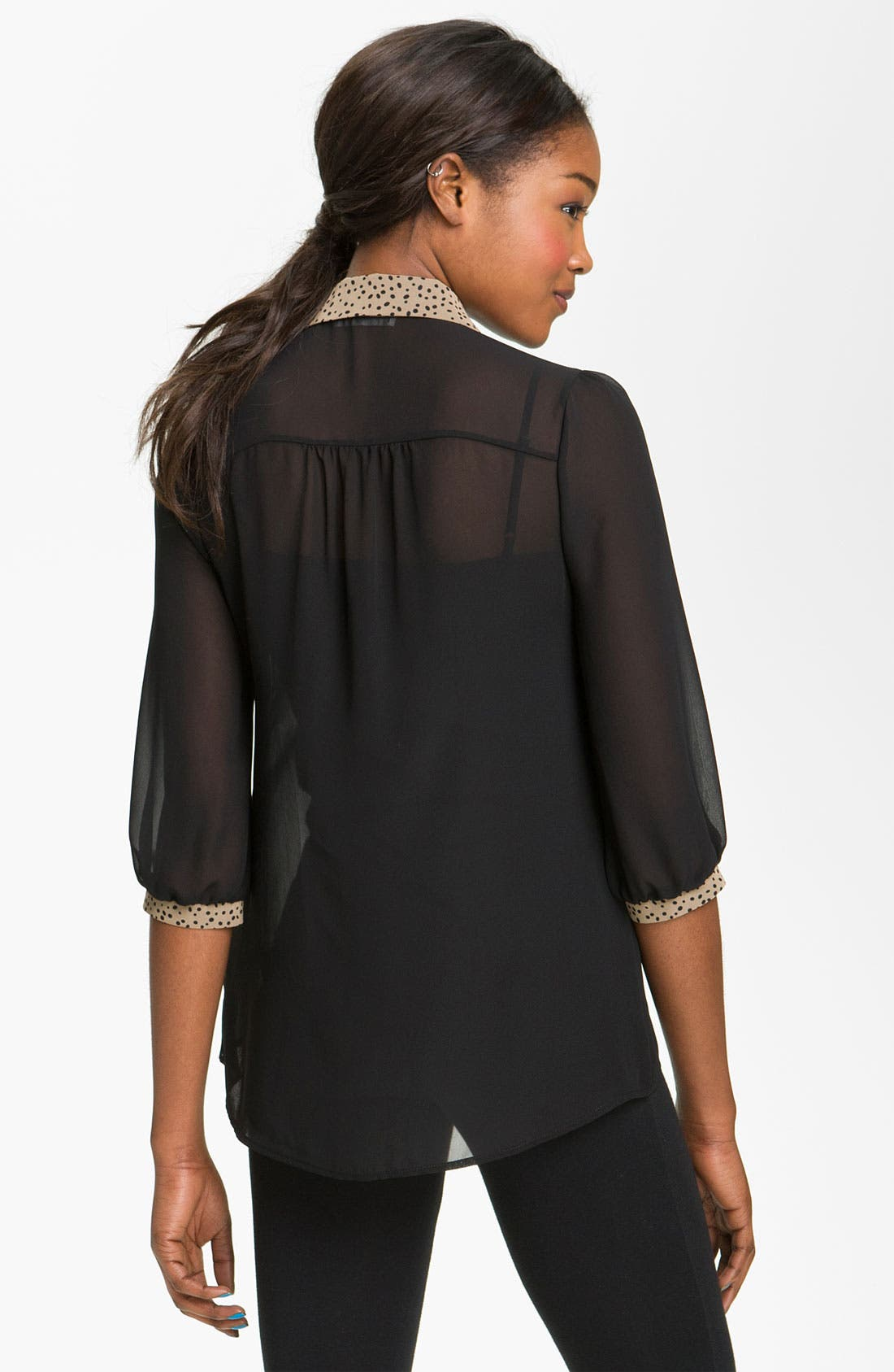 Alternate Image 2  - Lush Contrast Trim Chiffon Shirt (Juniors)