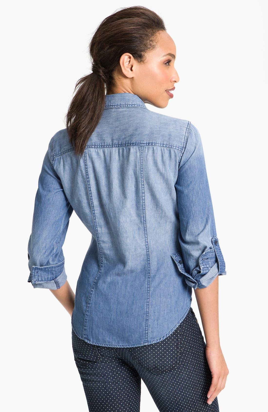 Alternate Image 2  - Sandra Ingrish Roll Sleeve Denim Shirt
