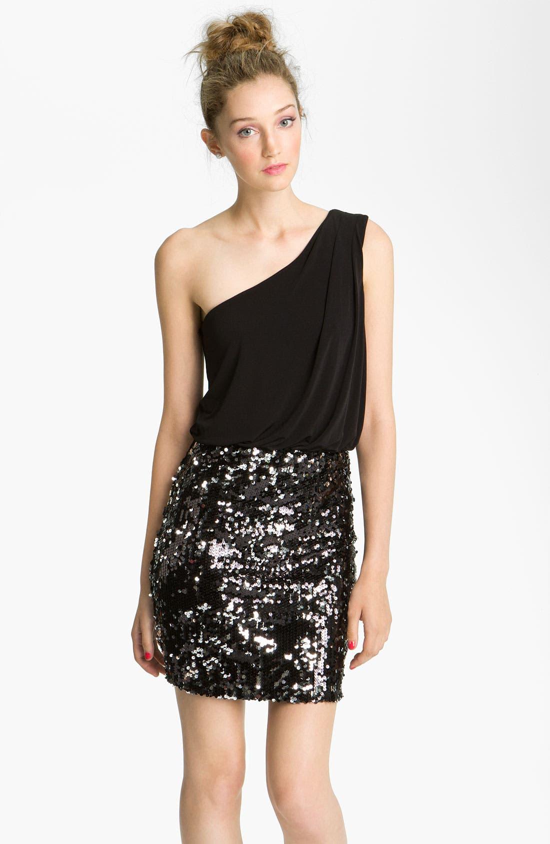 Alternate Image 1 Selected - Way-In Sequin Skirt One Shoulder Dress (Juniors)