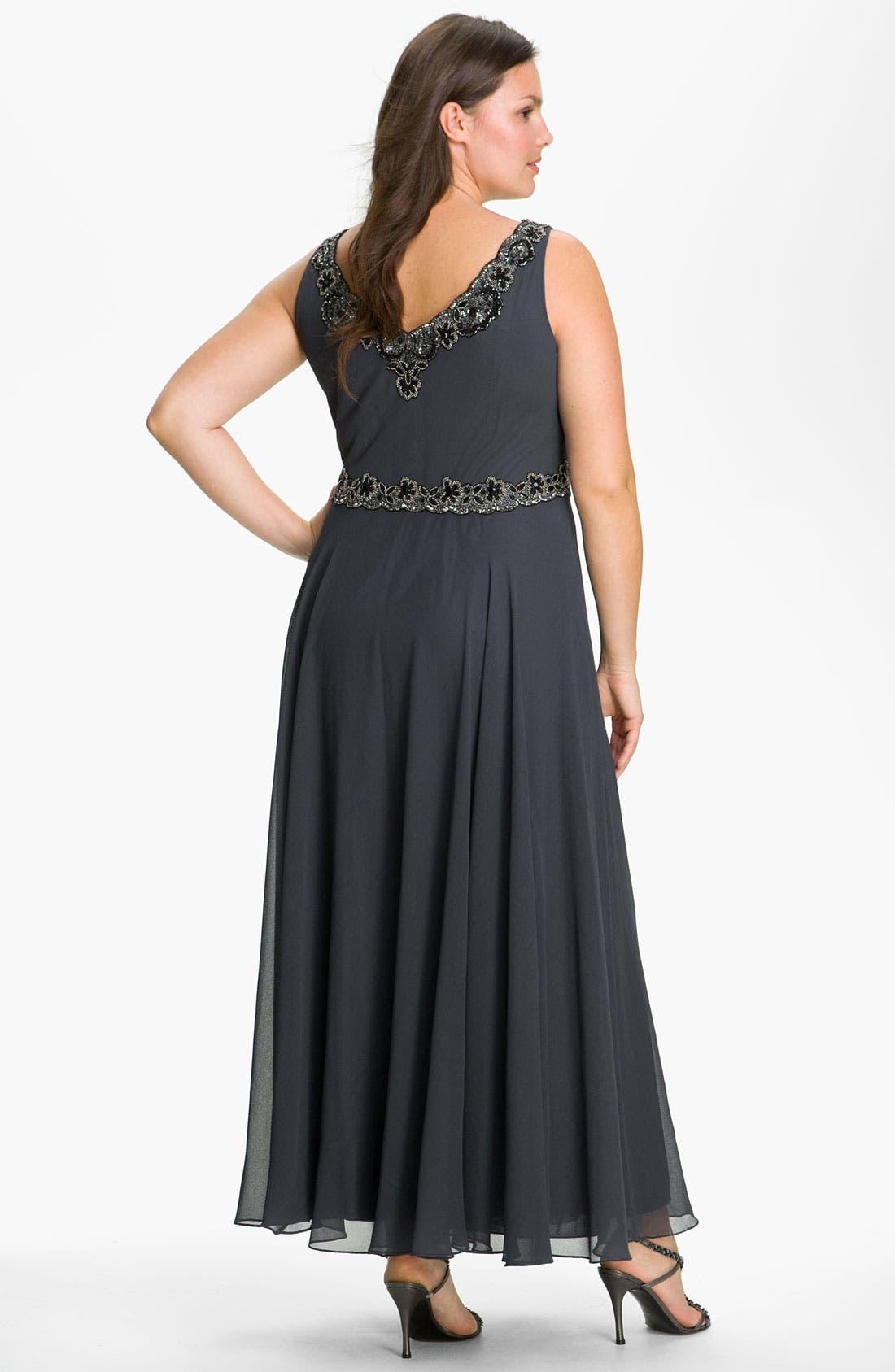 Alternate Image 2  - J Kara Beaded Chiffon Gown & Jacket (Plus Size)