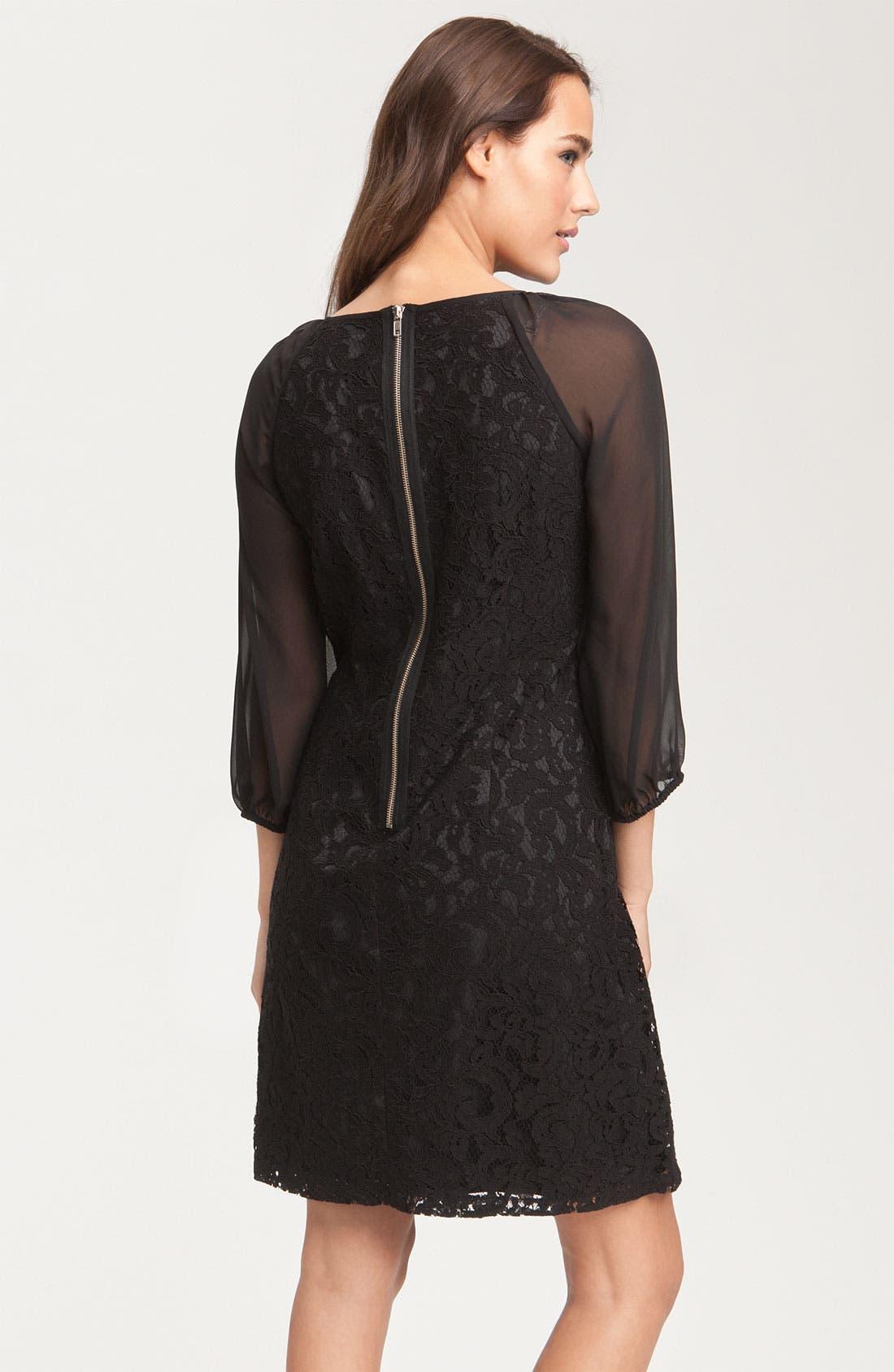 Alternate Image 2  - Adrianna Papell Lace & Chiffon Shift Dress (Petite)