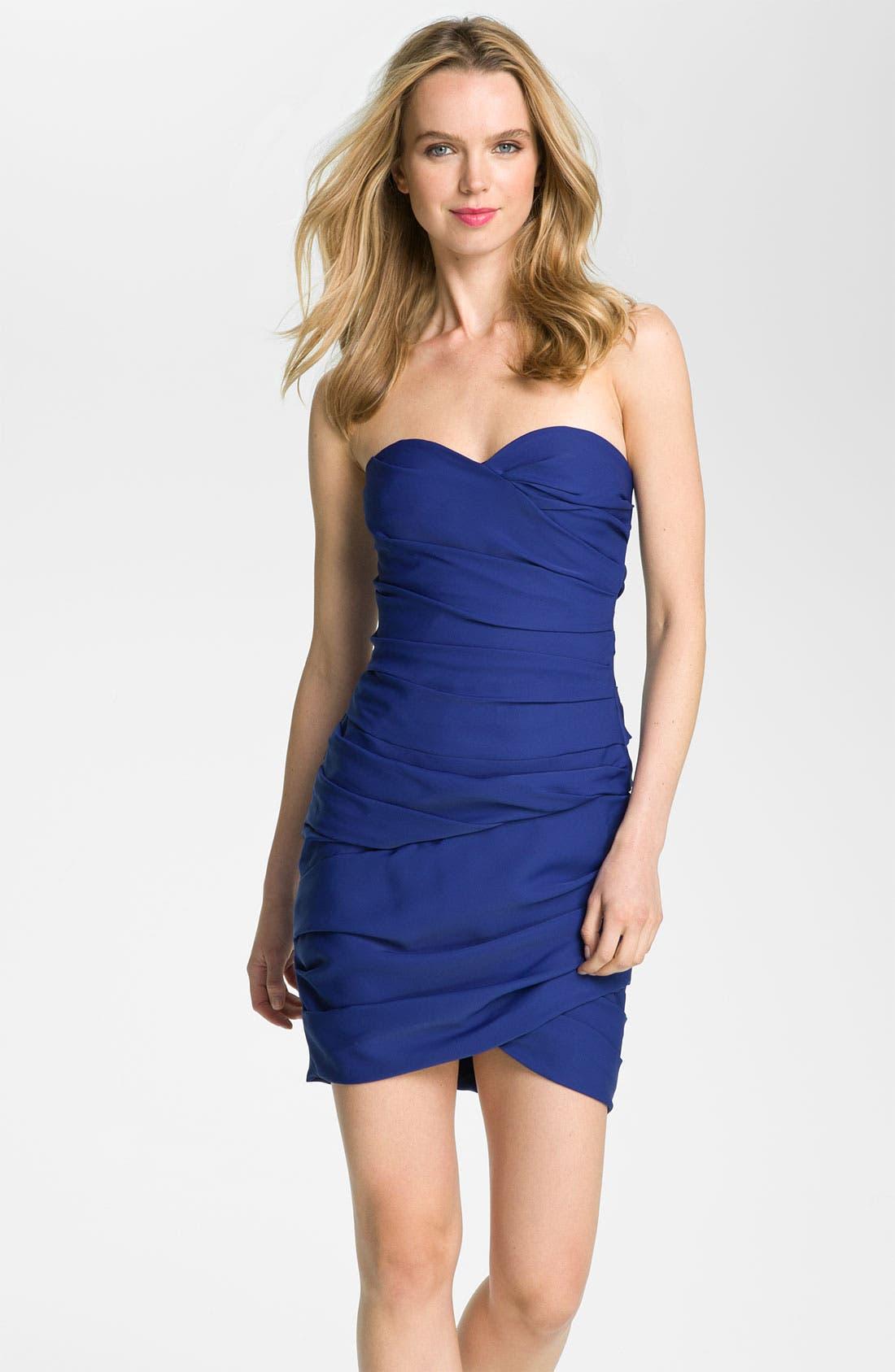 Main Image - BCBGMAXAZRIA Short Shirred Jersey Dress