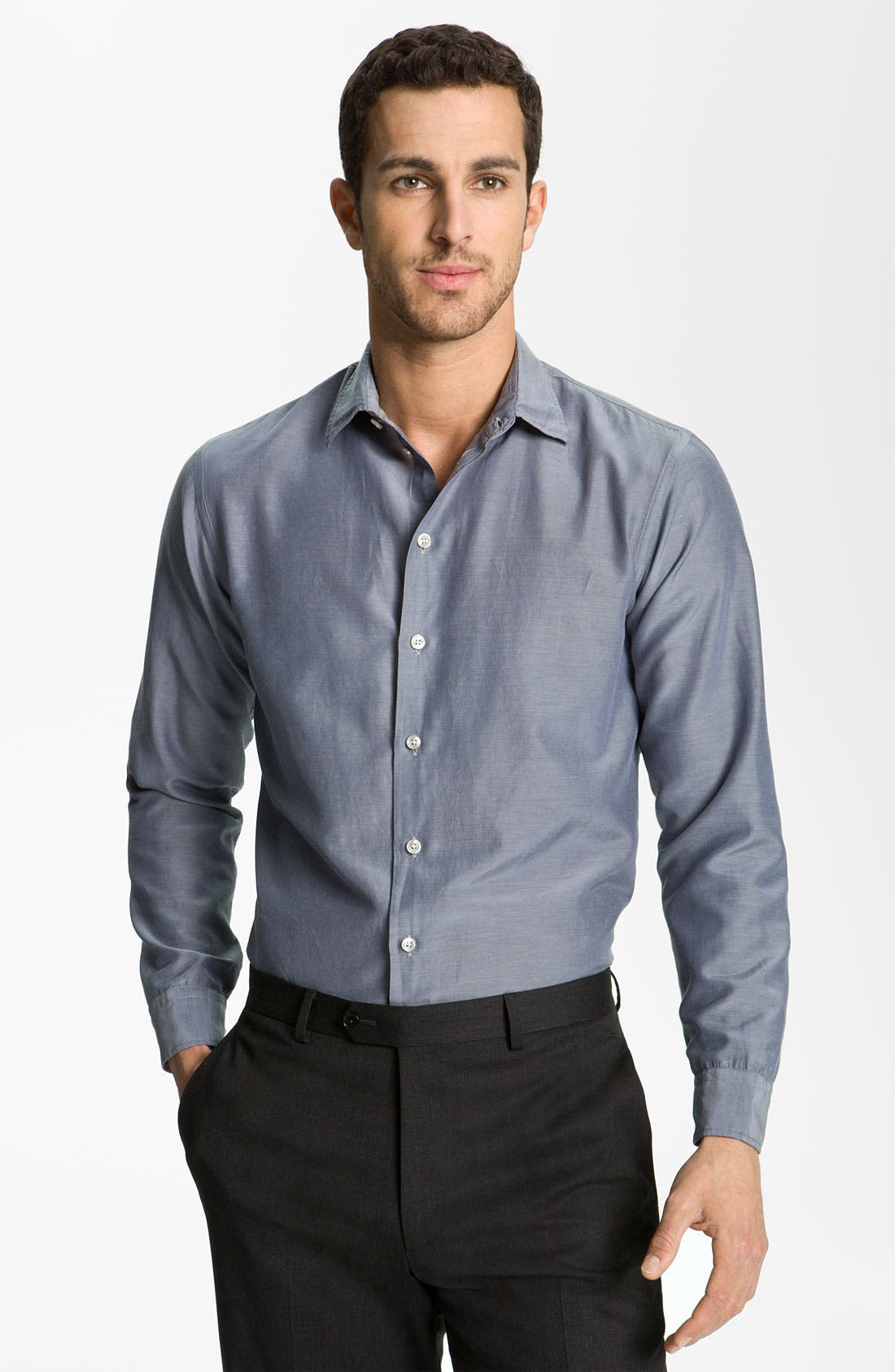 Alternate Image 1 Selected - Armani Collezioni Chambray Dress Shirt