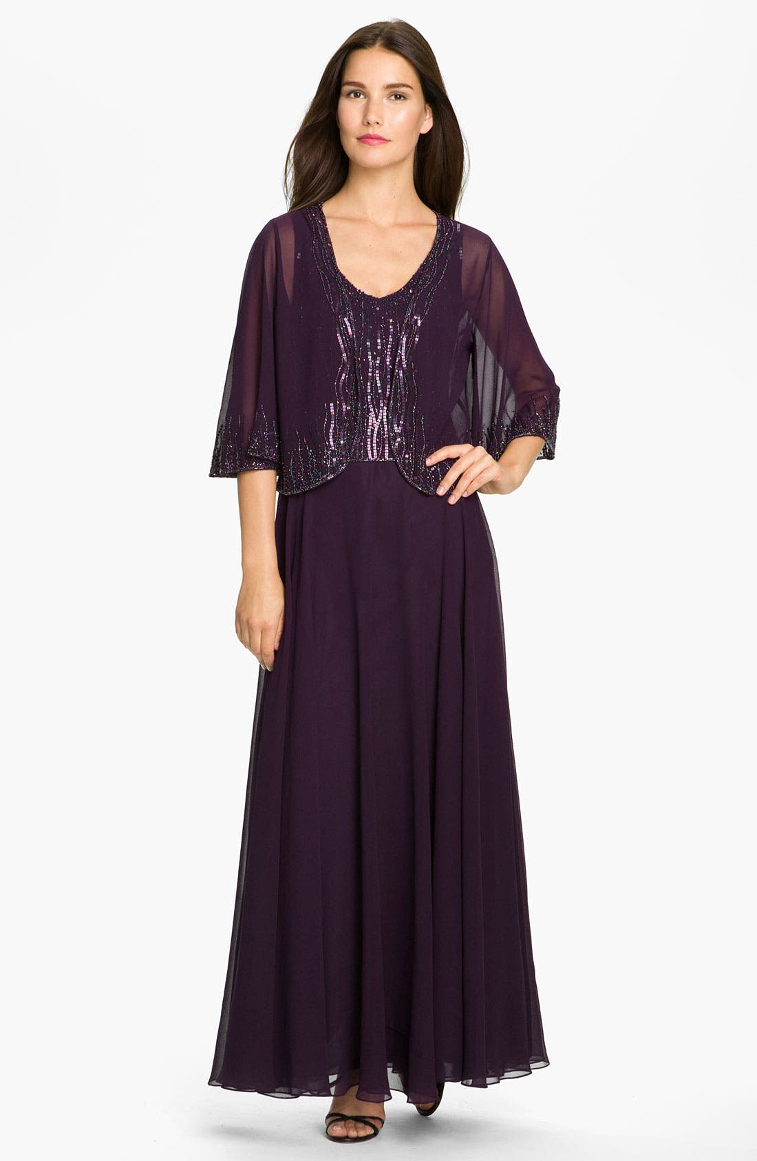 Main Image - J Kara Sequin Bodice Chiffon Dress & Sheer Embellished Jacket