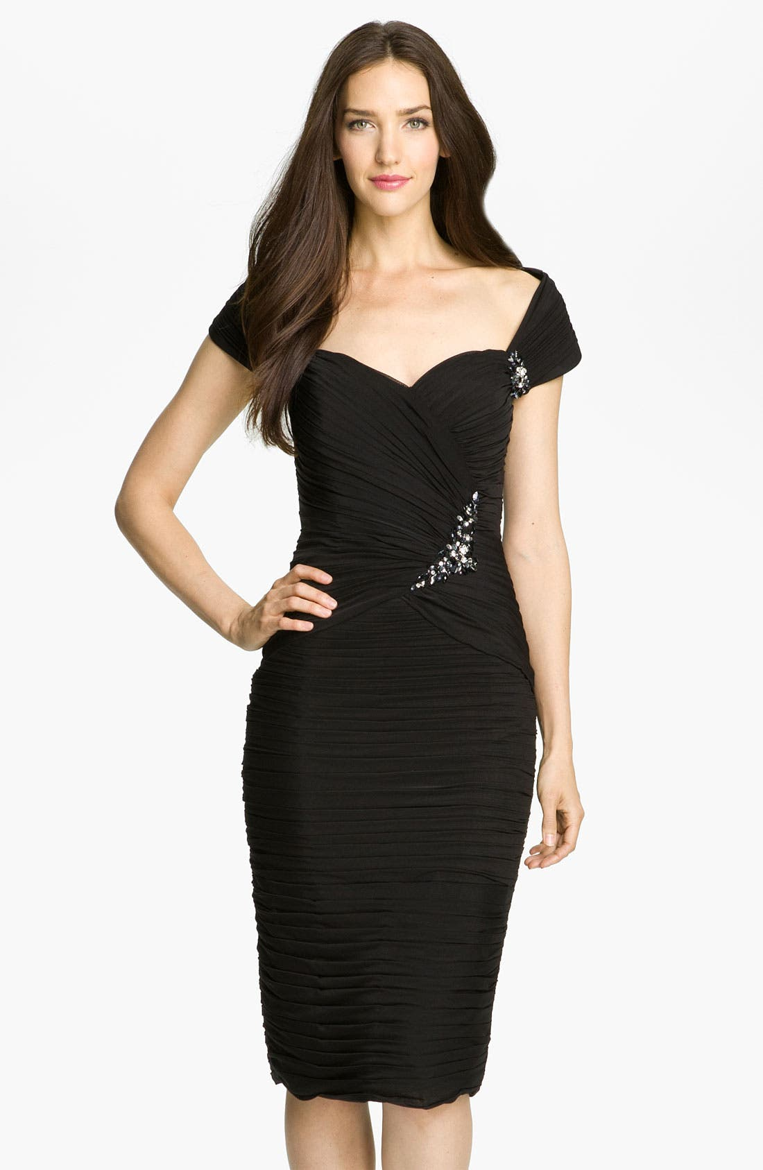 Main Image - Veni Infantino Off the Shoulder Ruched Mesh Dress