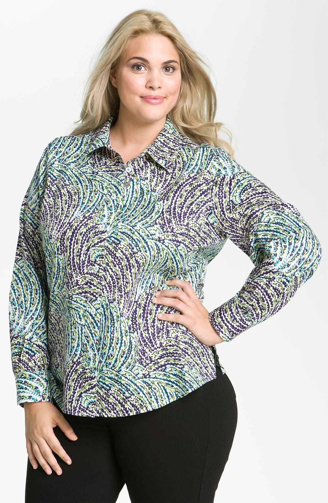 Alternate Image 1 Selected - Foxcroft 'Garden' Long Sleeve Shaped Shirt (Plus)