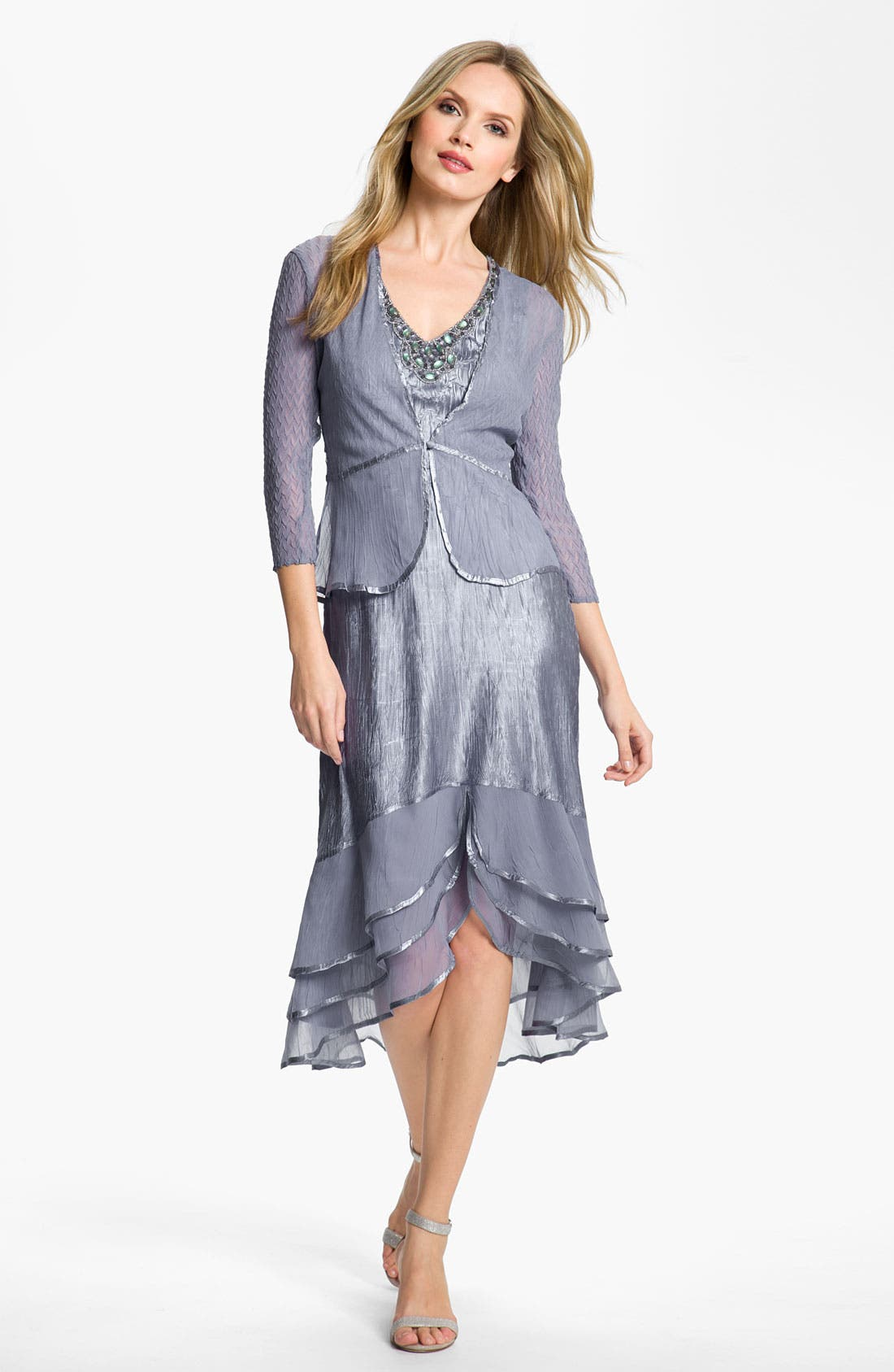 Alternate Image 1 Selected - Komarov Split Hem Charmeuse Dress & Jacket