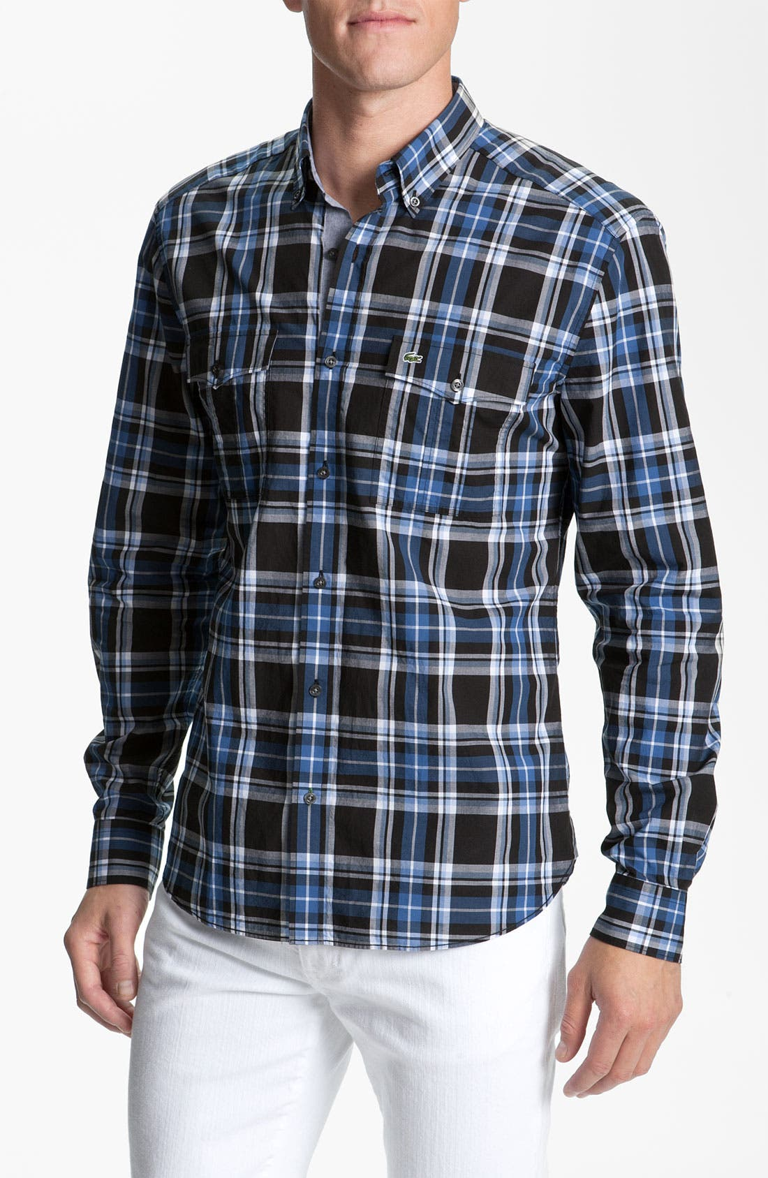 Alternate Image 1 Selected - Lacoste Slim Fit Plaid Sport Shirt