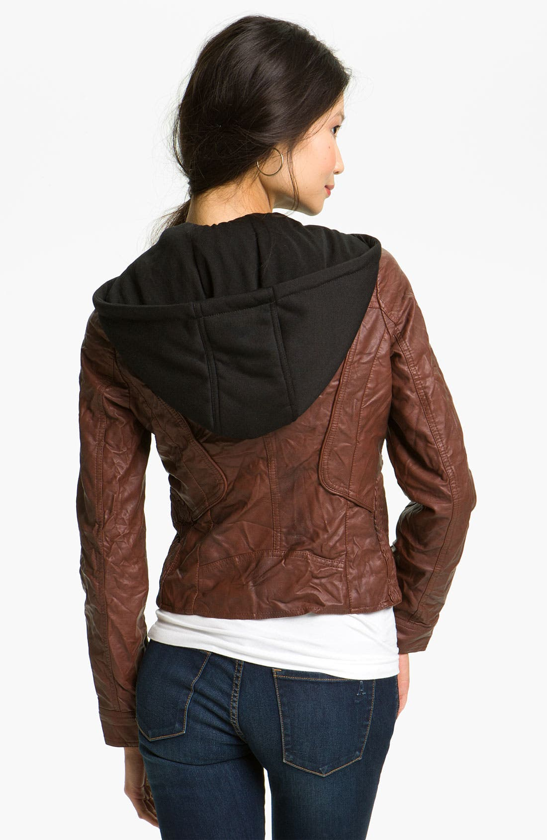 Alternate Image 2  - Collection B Faux Leather Jacket with Fleece Hood (Juniors)