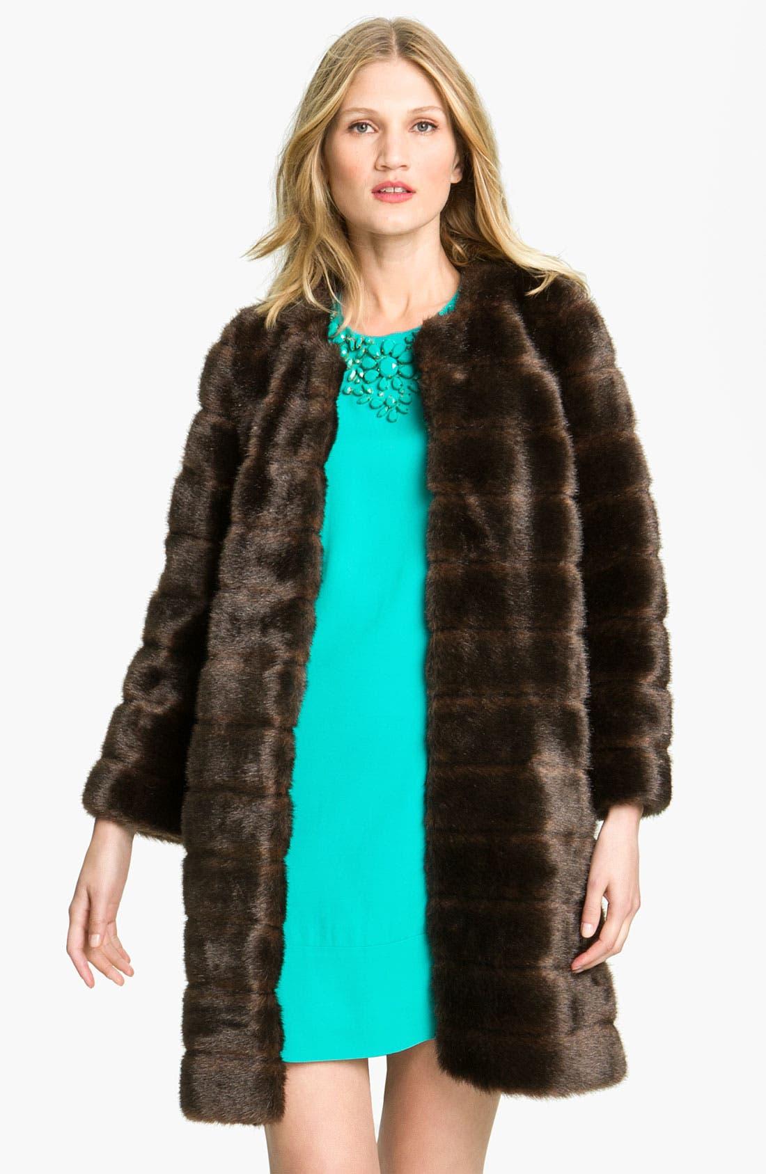 Main Image - kate spade new york 'rossalyn' faux fur coat