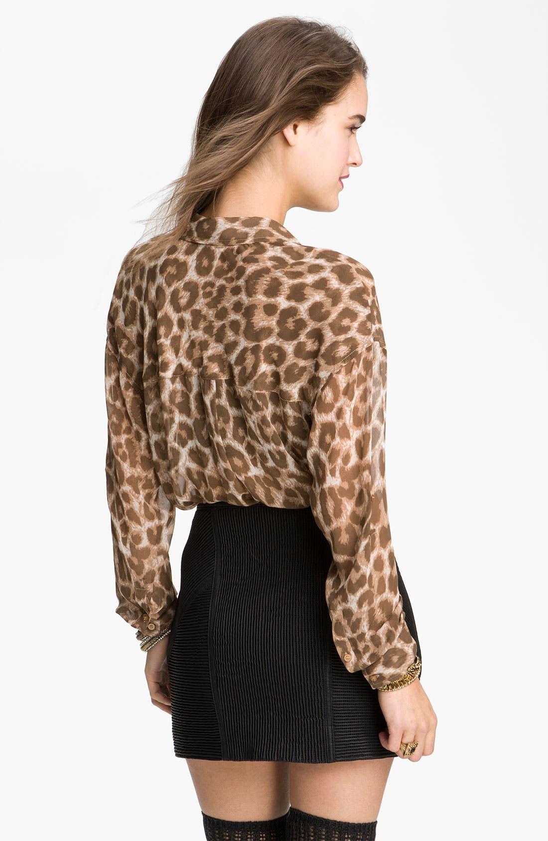 Alternate Image 2  - Free People Animal Print Chiffon Shirt