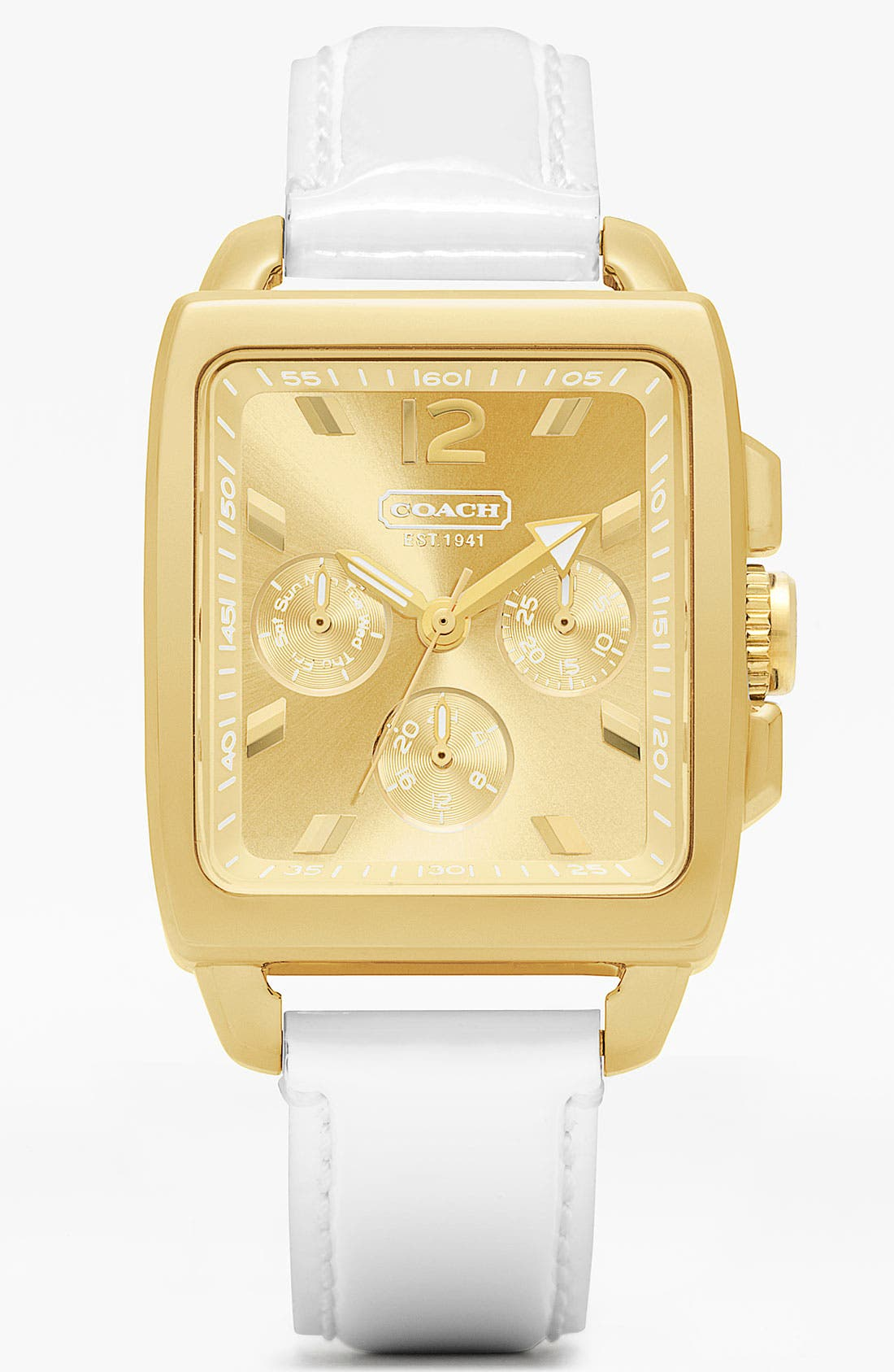 Alternate Image 1 Selected - COACH 'Boyfriend' Square Leather Strap Watch