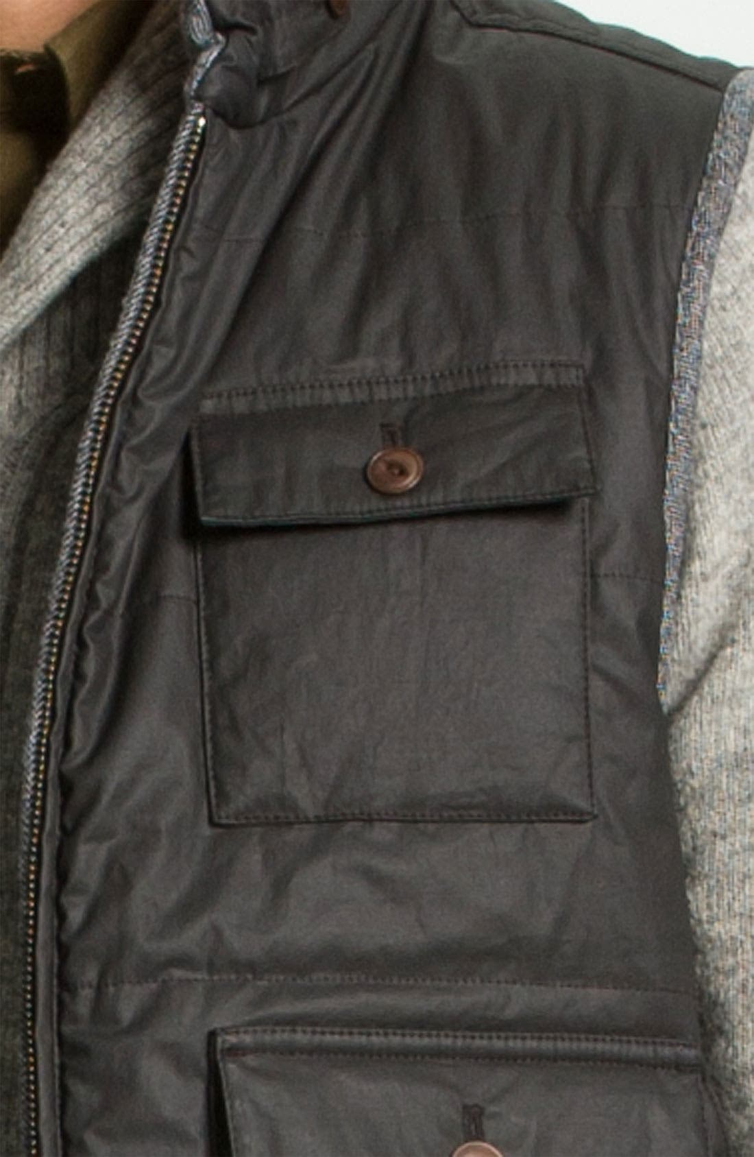Alternate Image 3  - Façonnable Herringbone Tweed & Waxed Cotton Quilted Vest