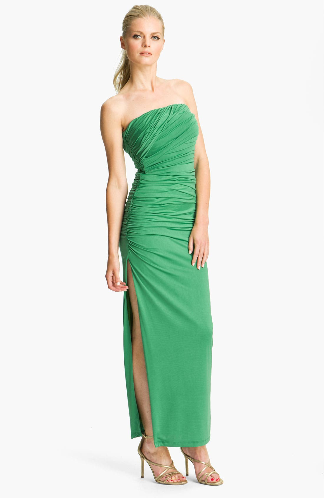 Main Image - Jessica McClintock Ruched Side Slit Jersey Gown