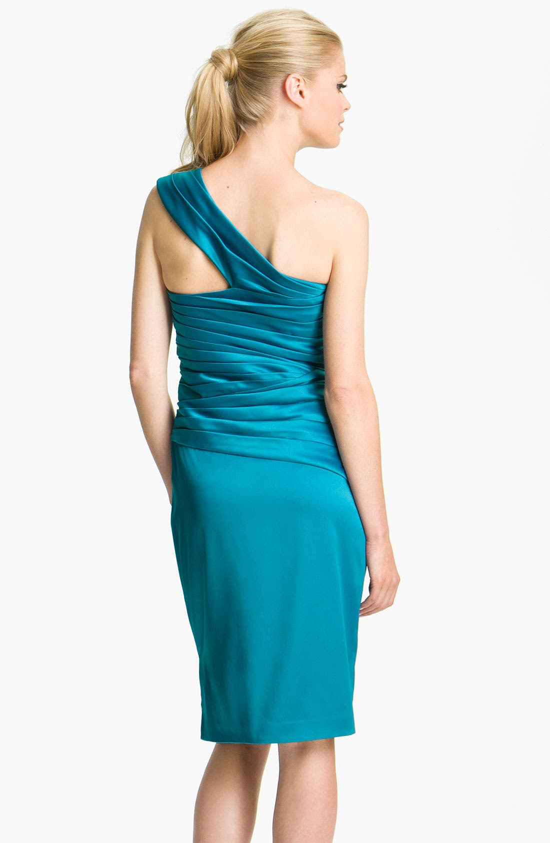 Alternate Image 2  - ML Monique Lhuillier Bridesmaids One Shoulder Satin Dress (Nordstrom Exclusive)