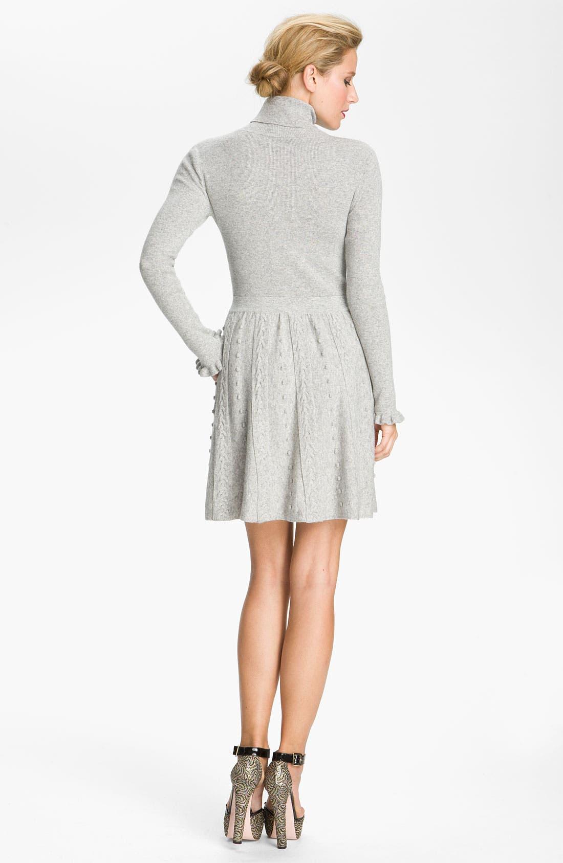 Alternate Image 2  - RED Valentino Cable Knit Turtleneck Dress
