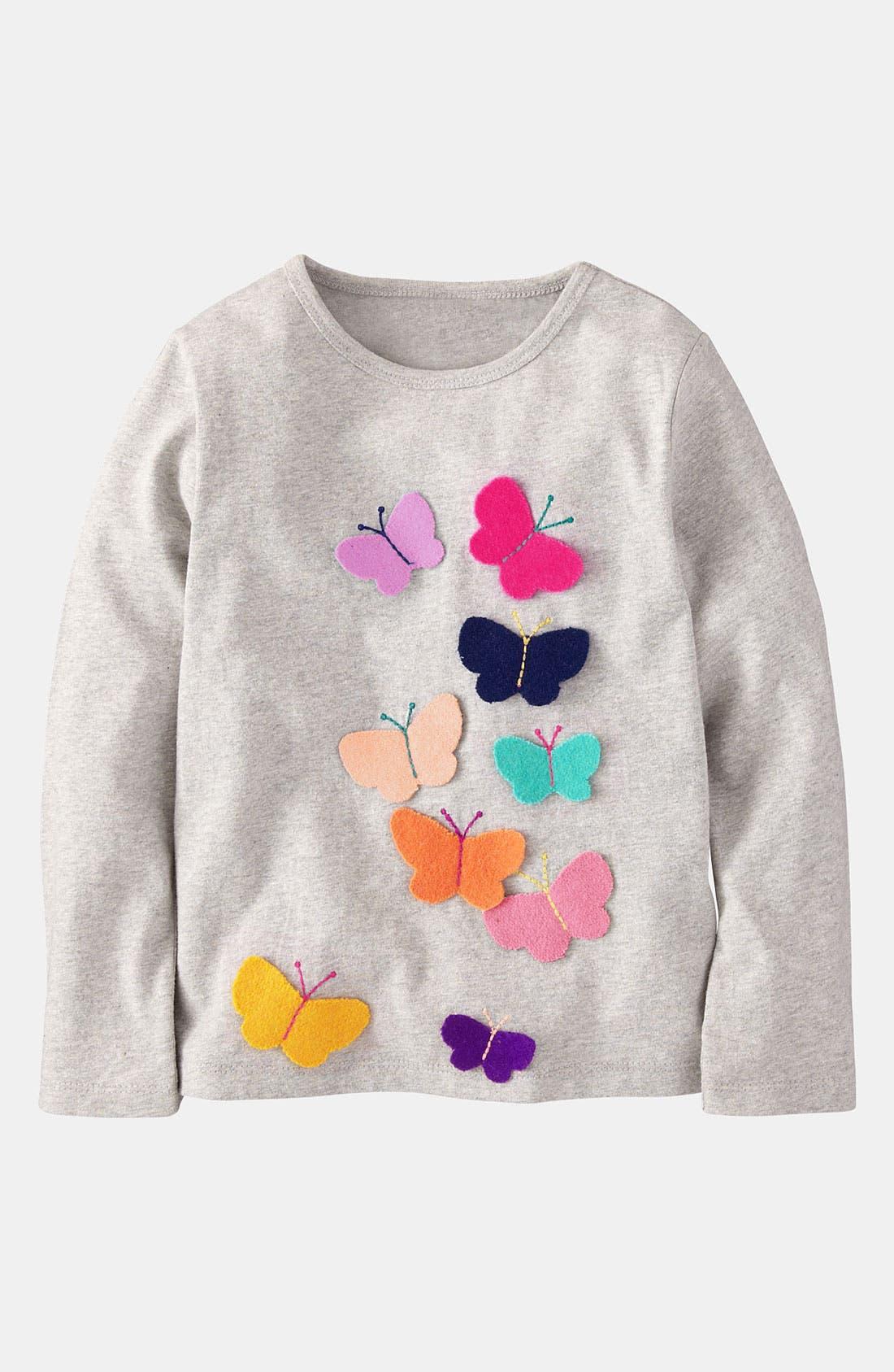 Main Image - Mini Boden 'Fluttery' Appliqué Tee (Little Girls & Big Girls)