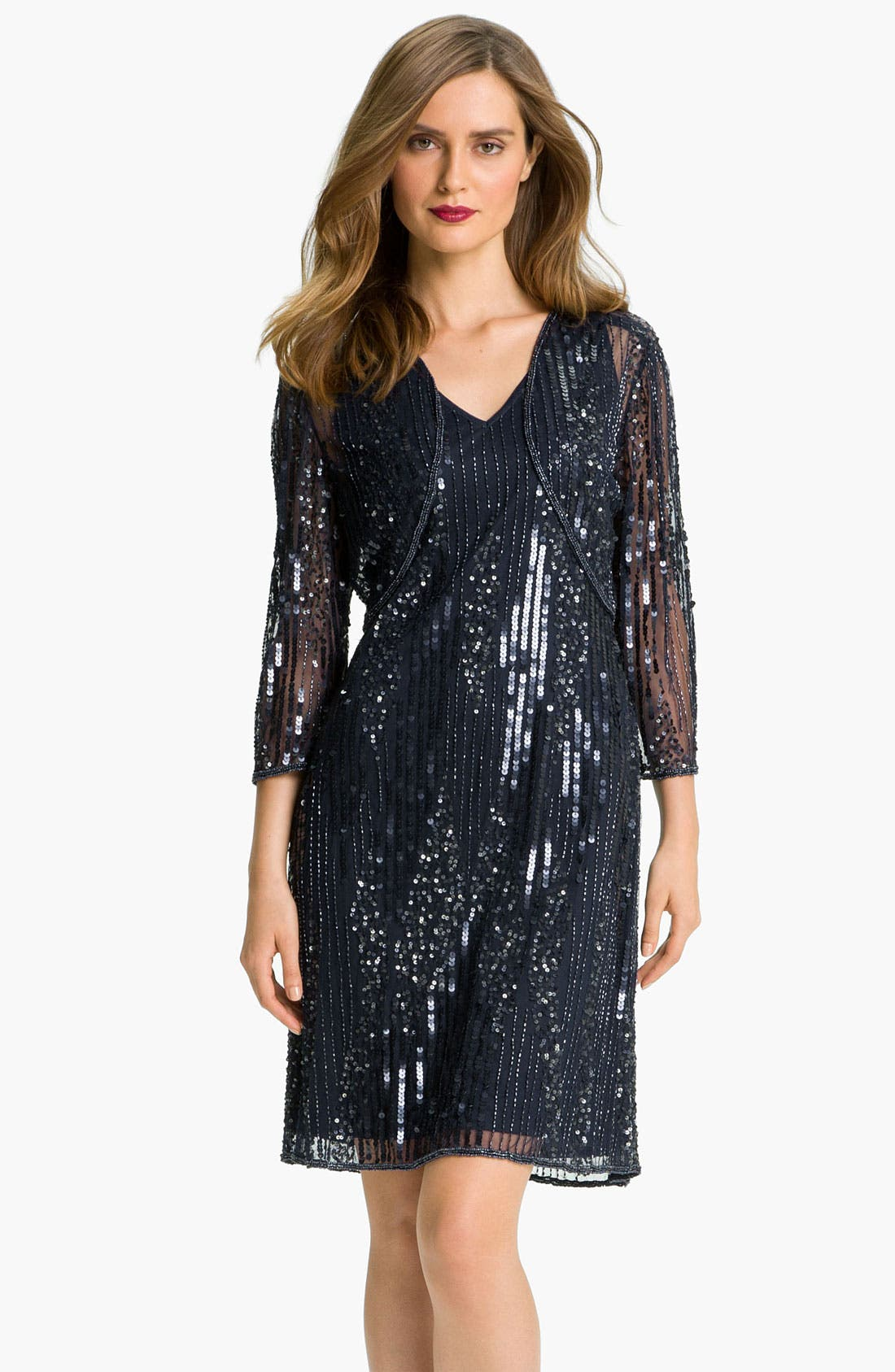 Main Image - Patra Embellished Double V-Neck Mesh Dress & Sheer Bolero