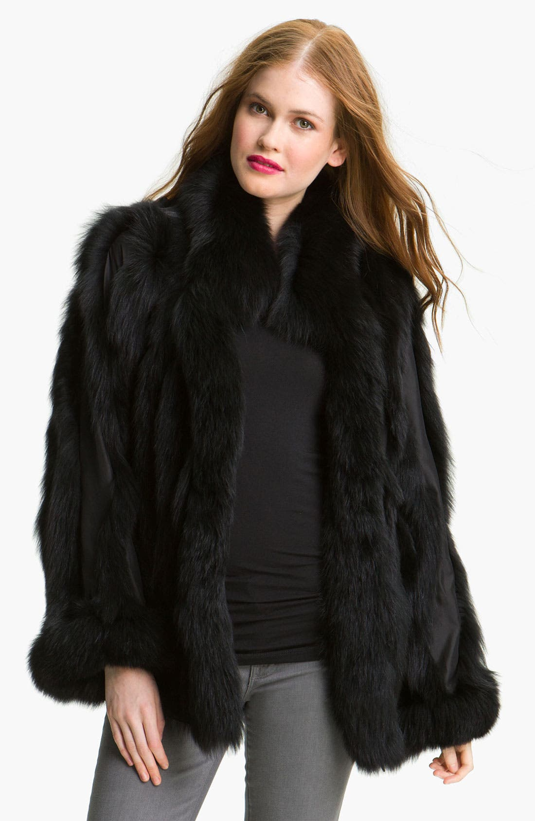 Main Image - George Simonton Couture Reversible Genuine Fox Fur & Silk Coat