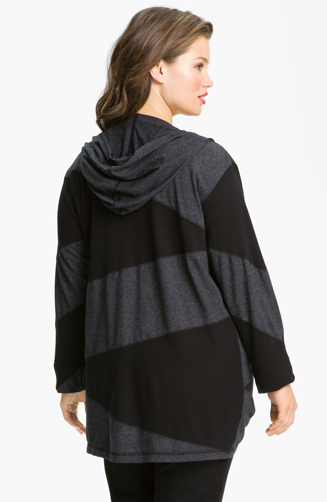 Alternate Image 2  - Allen Allen Patchwork Knit Jacket (Plus)