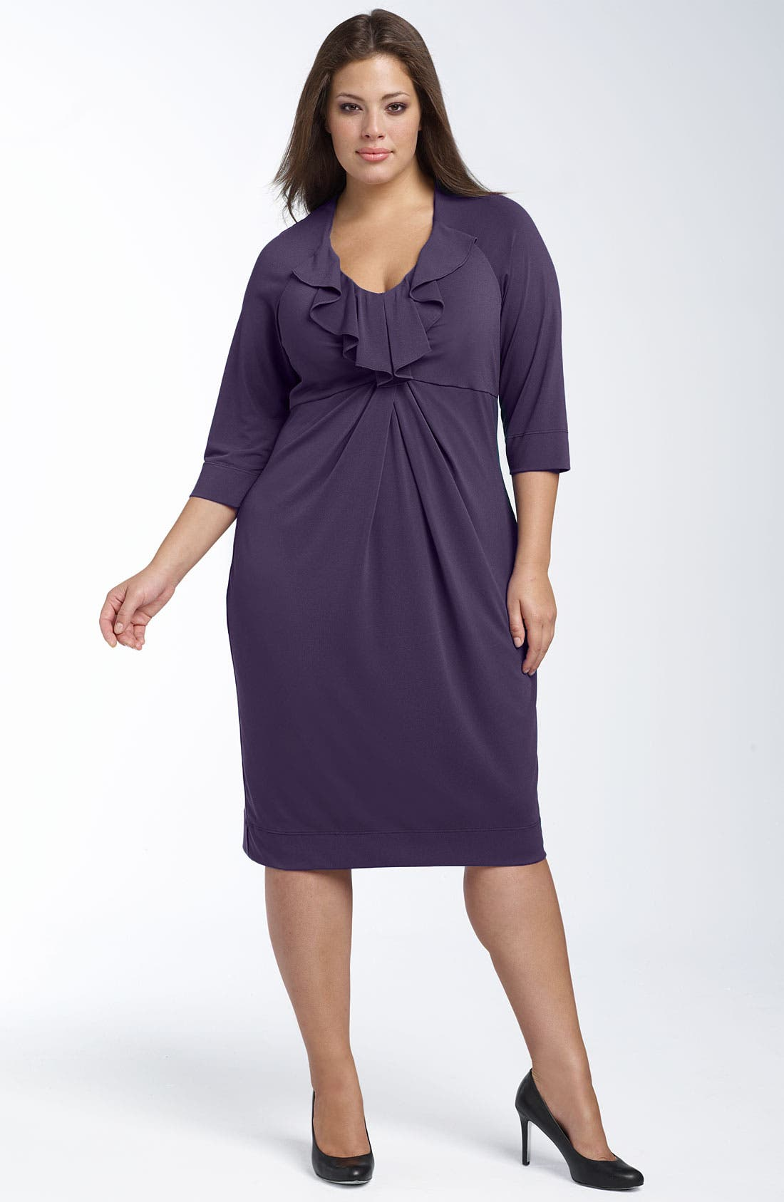 Alternate Image 1 Selected - Donna Ricco Ruffled Jersey Dress (Plus)