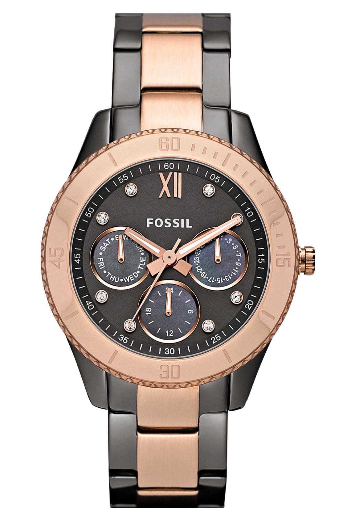 Main Image - Fossil 'Stella' Crystal Bezel Bracelet Watch, 37mm