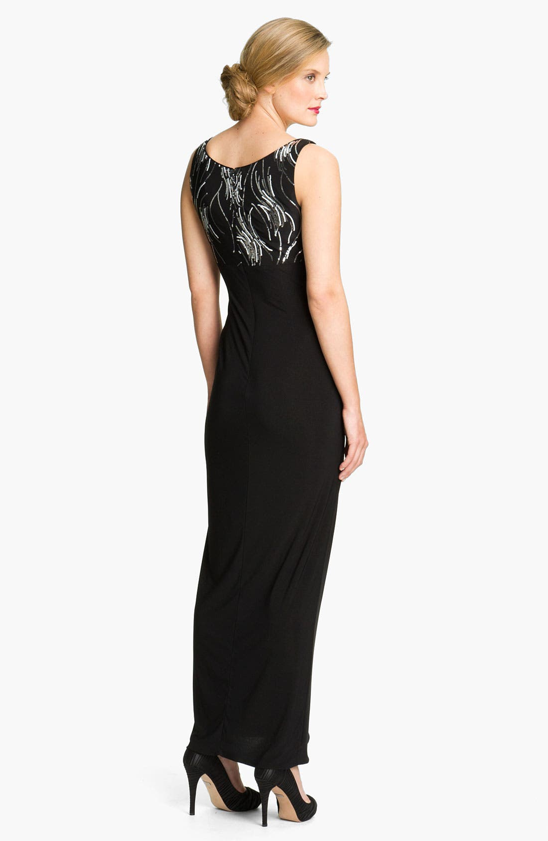 Alternate Image 3  - Alex Evenings Side Drape Jersey Gown & Sequin Jacket