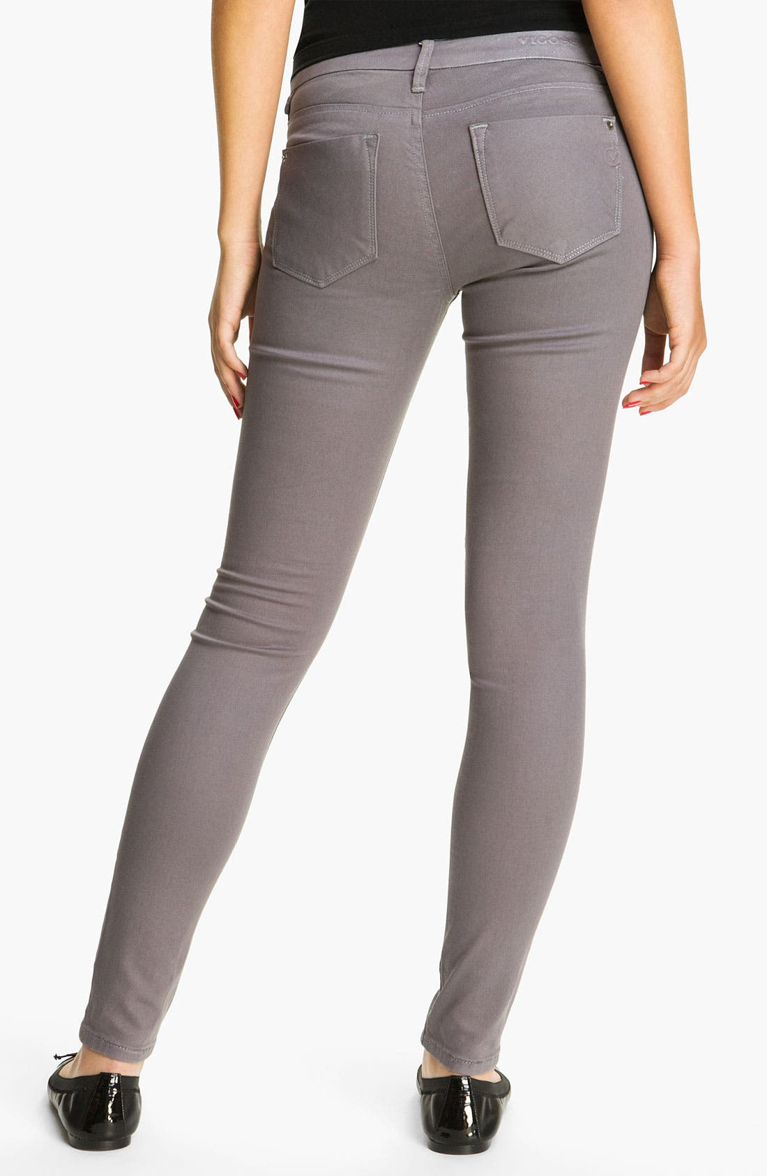 Alternate Image 1 Selected - Vigoss Coated Skinny Jeans (Grey) (Juniors)