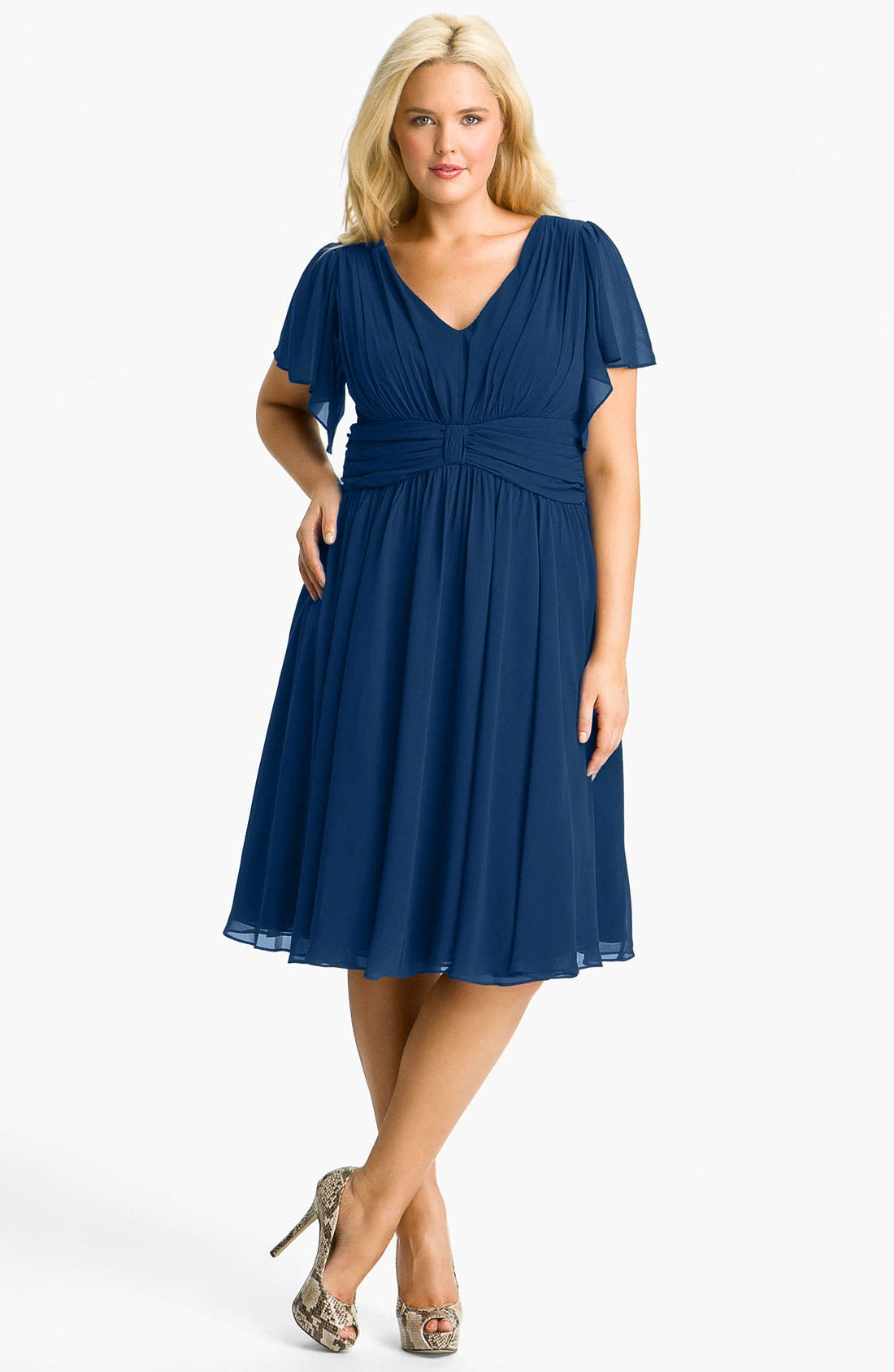 Main Image - Ivy & Blu Flutter Sleeve Dress (Plus)