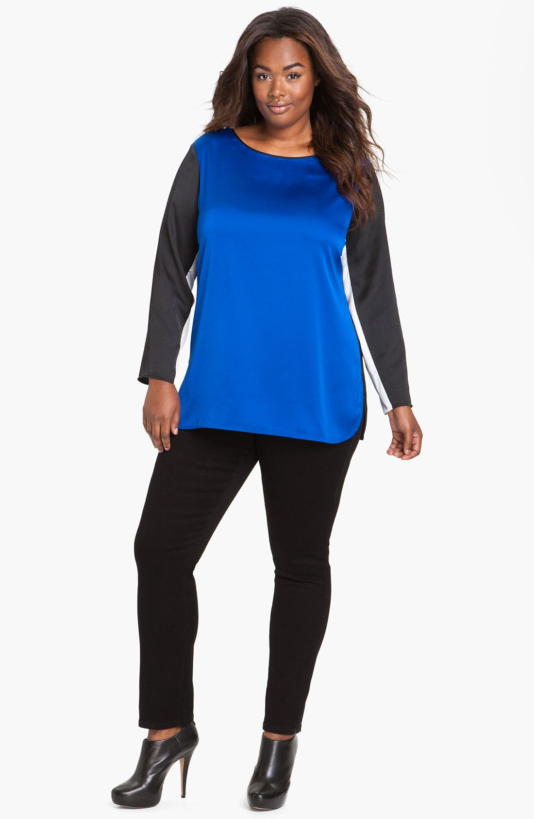 Alternate Image 1 Selected - Vince Camuto Colorblock Top (Plus)