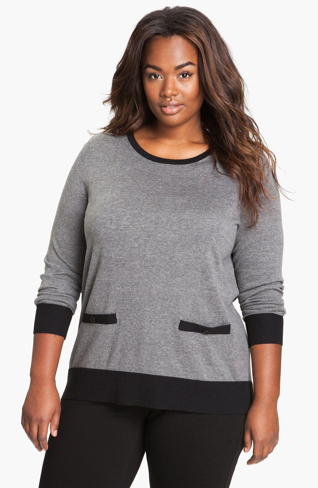 Alternate Image 1 Selected - Sejour Contrast Trim Sweater (Plus)