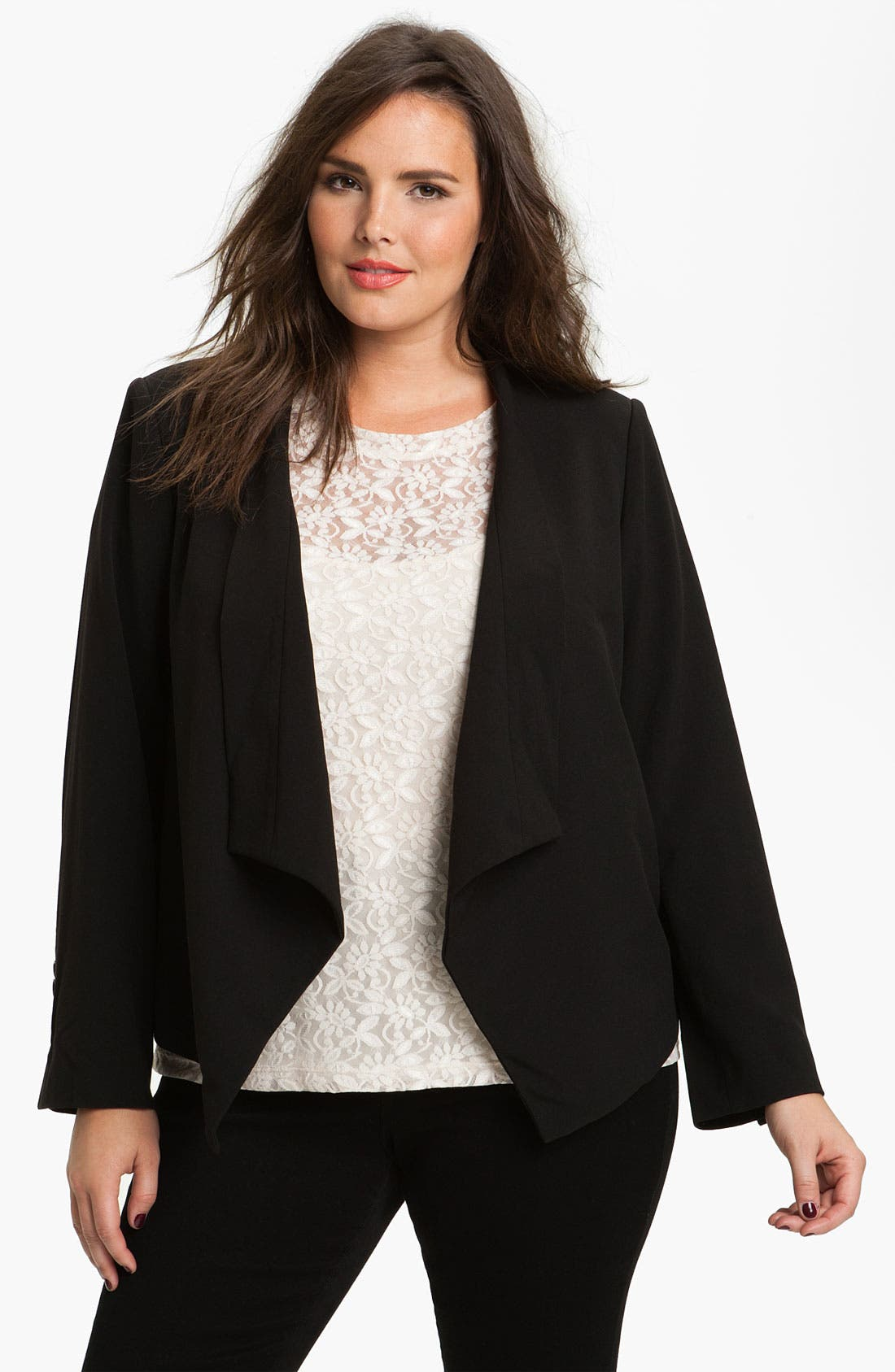 Main Image - Eliza J Open Front Jacket (Plus)