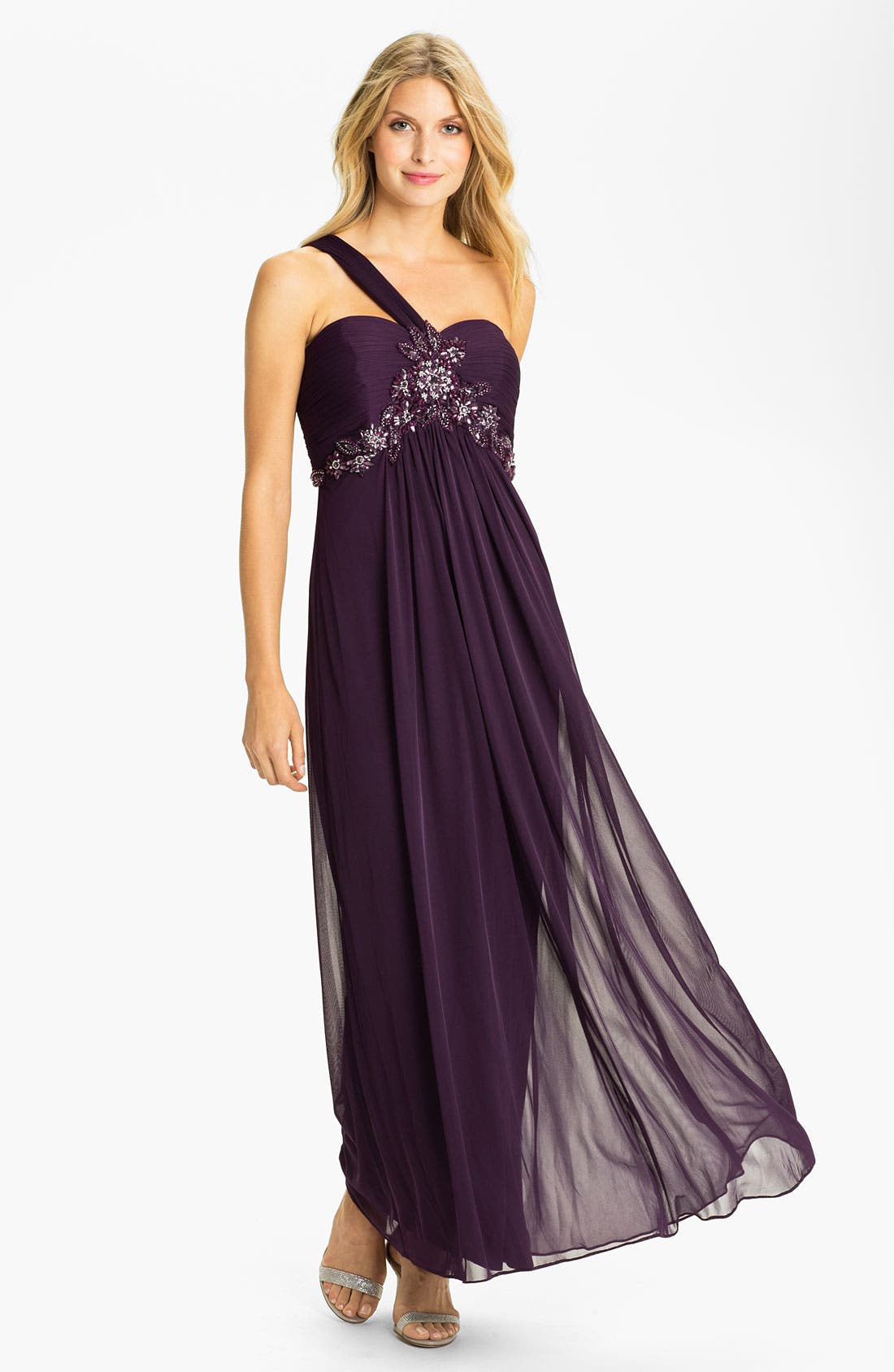 Main Image - Xscape One Shoulder Embellished Mesh Gown