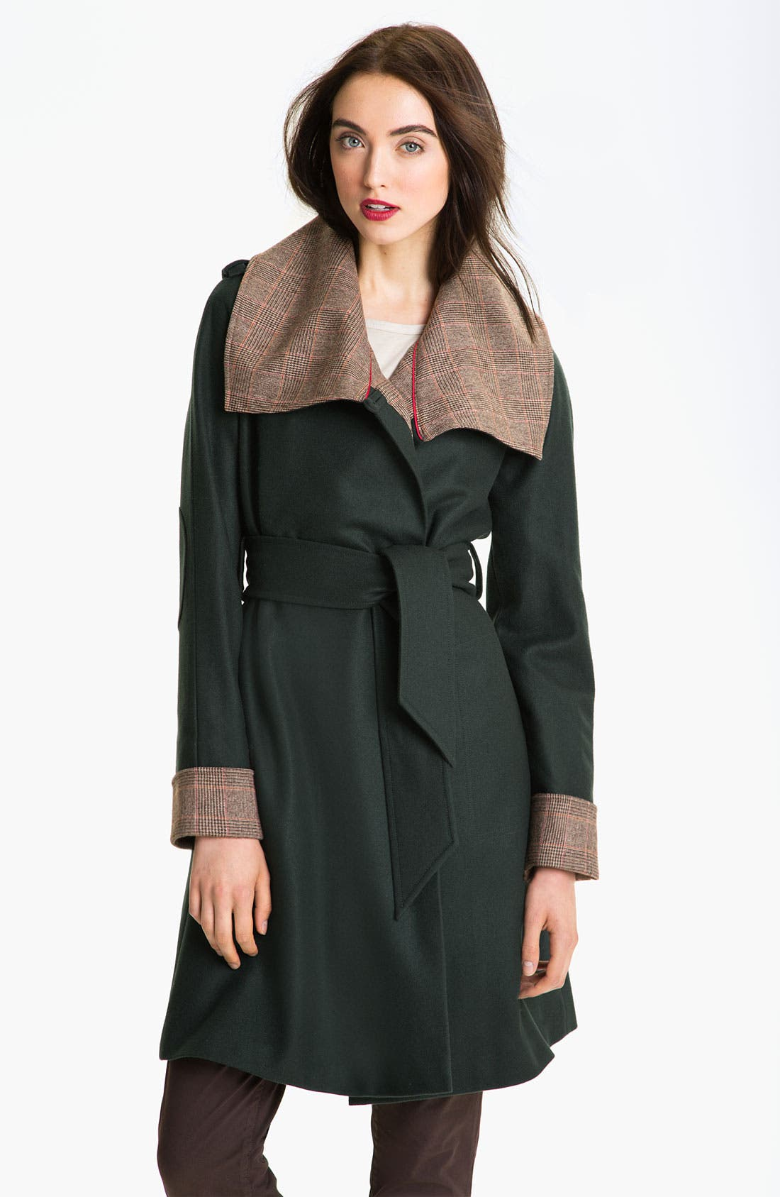 Main Image - Ted Baker London Plaid Trim Wrap Coat