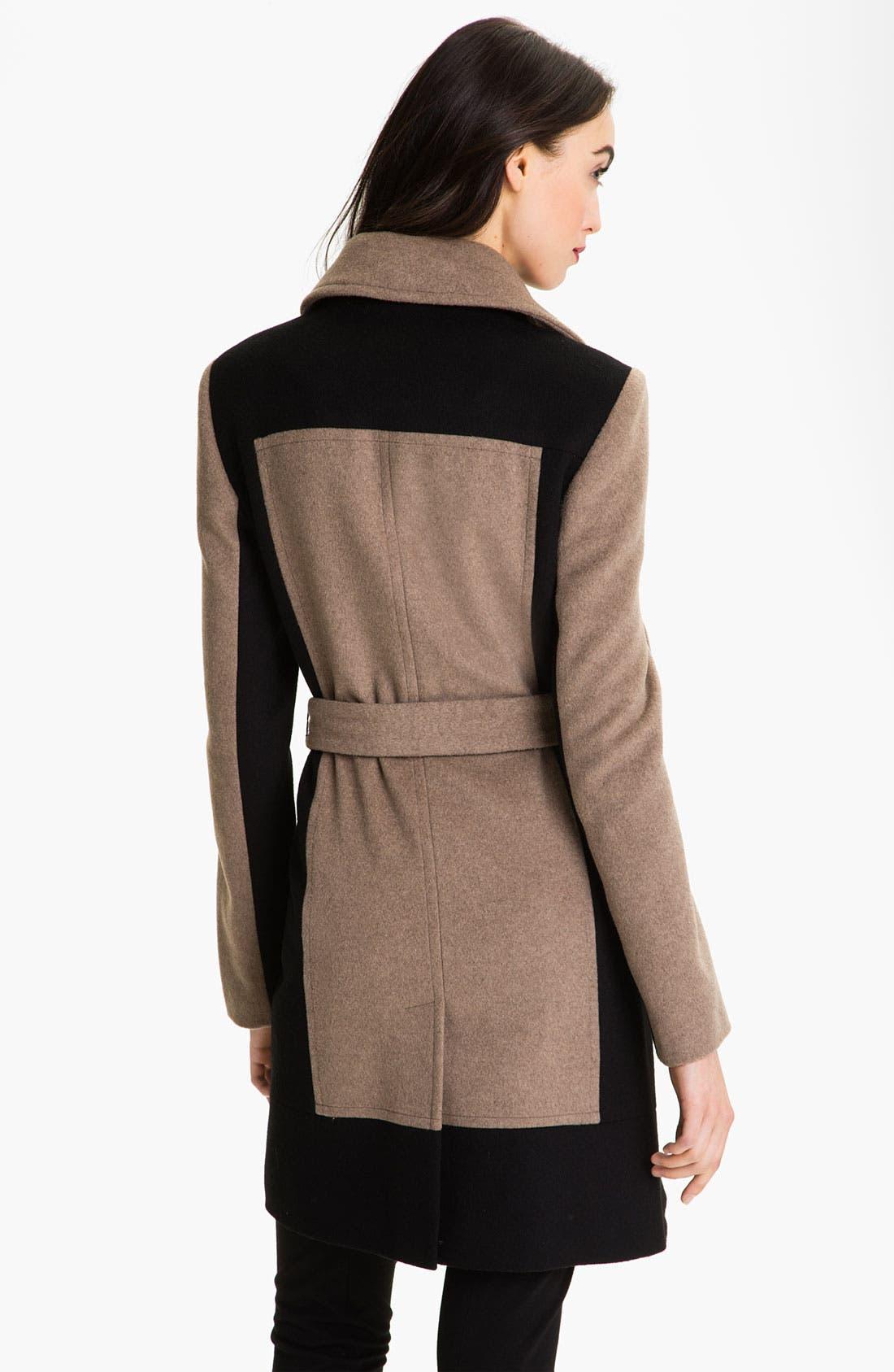 Alternate Image 2  - Calvin Klein Colorblock Belted Coat
