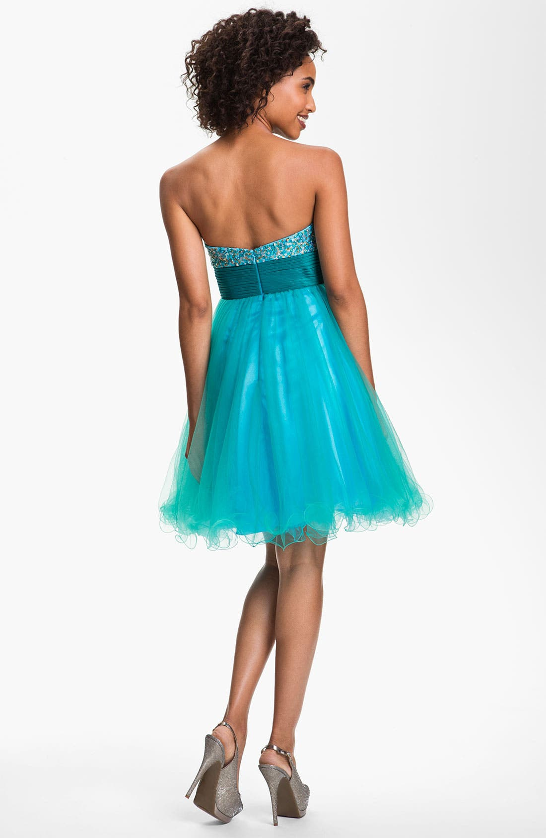 Alternate Image 2  - Sean Collection Sequin & Tulle Sweetheart Dress
