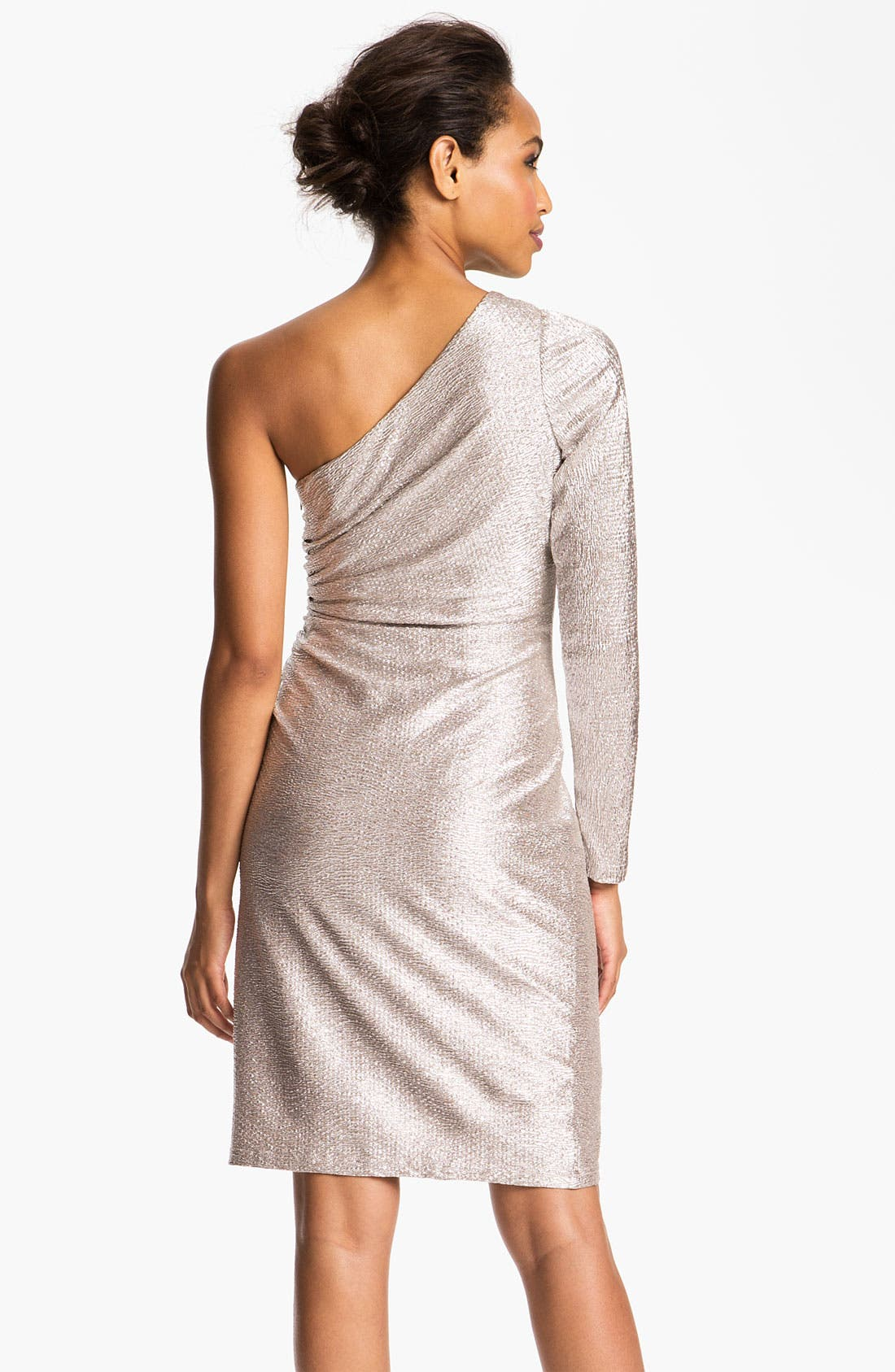 Alternate Image 2  - Hailey by Adrianna Papell One Sleeve Metallic Sheath Dress