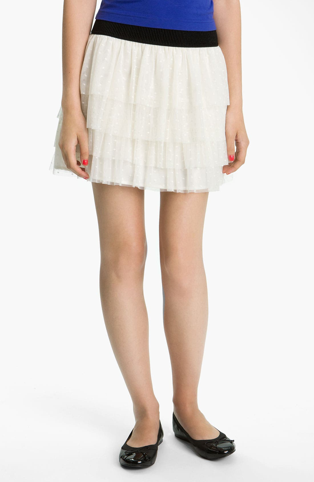 Main Image - Necessary Objects Tiered Swiss Dot Lace Skirt (Juniors)