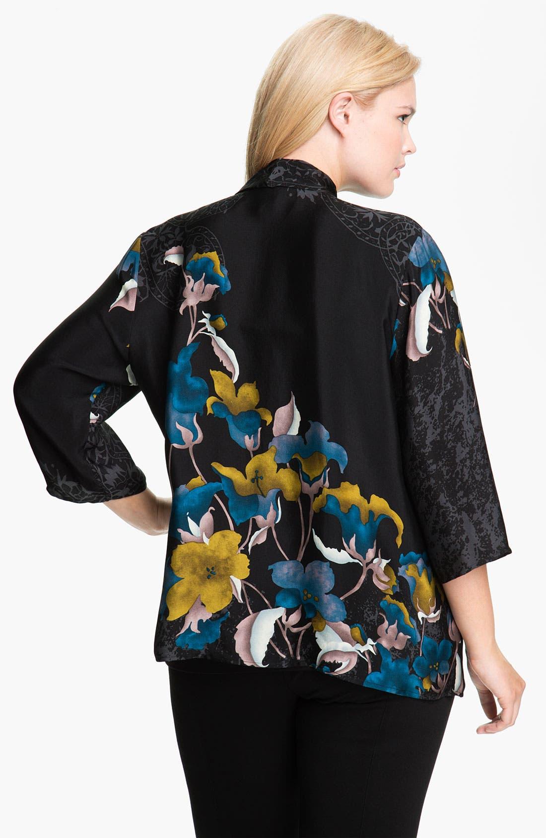 Alternate Image 2  - Citron Sheer Silk Drape Front Jacket (Plus)