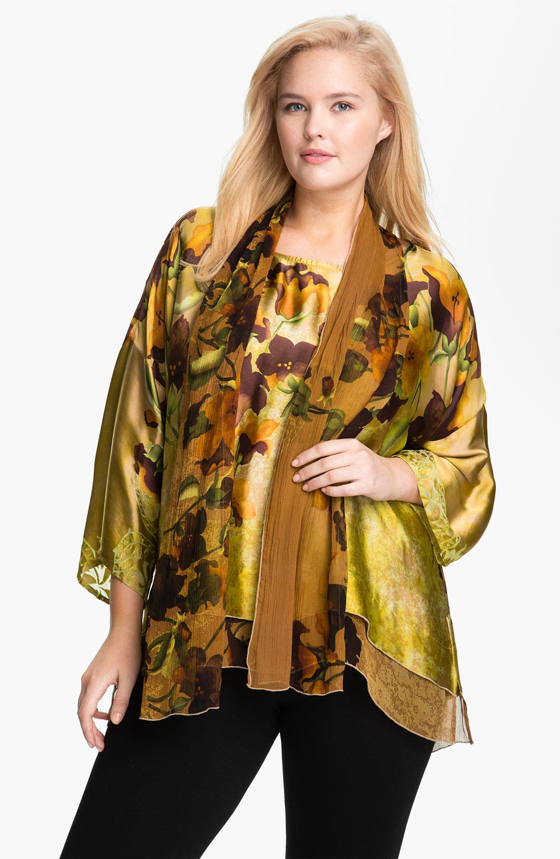 Alternate Image 1 Selected - Citron Print Tunic & Scarf (Plus)