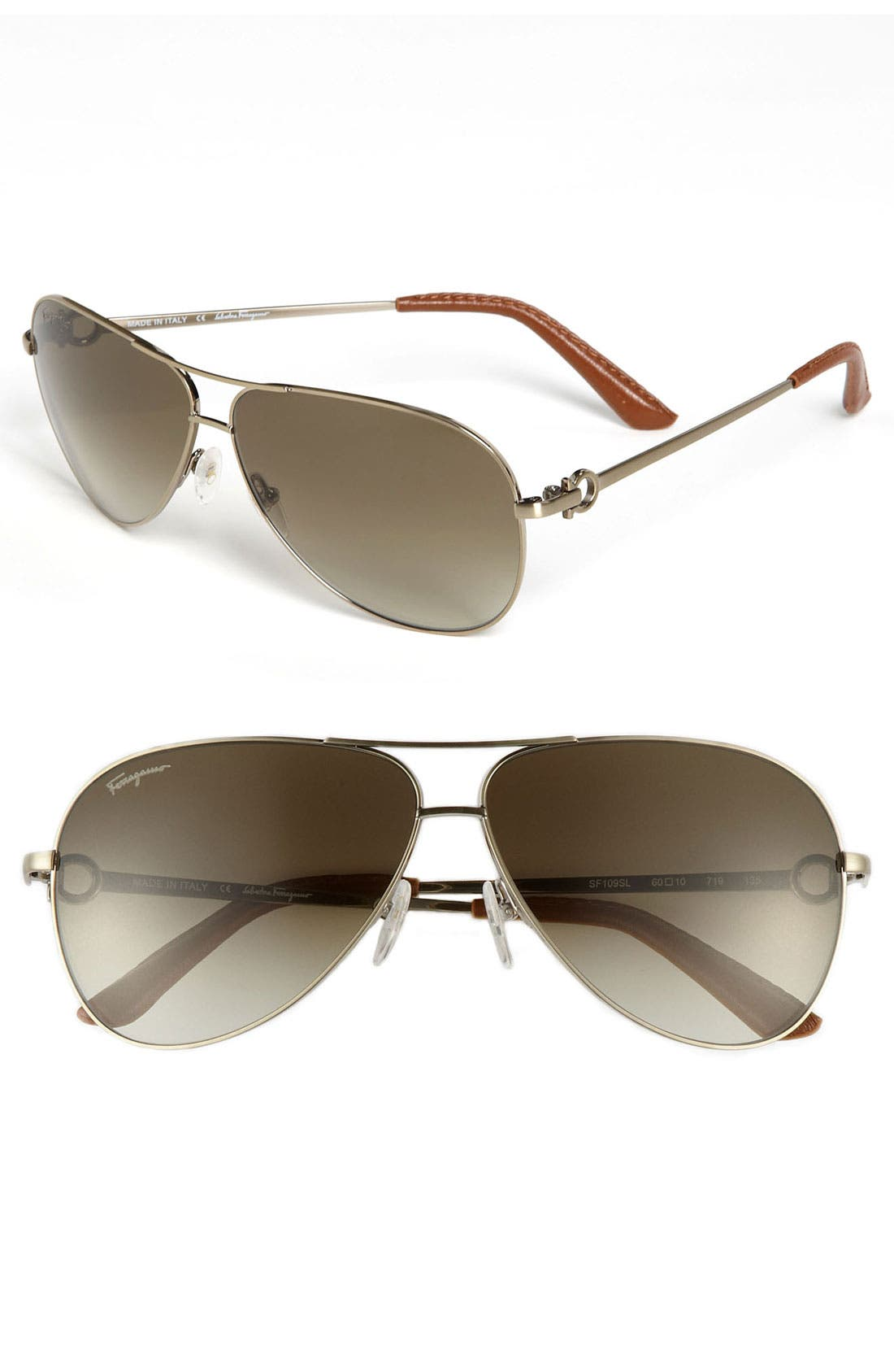 Main Image - Salvatore Ferragamo 60mm Metal Aviator Sunglasses