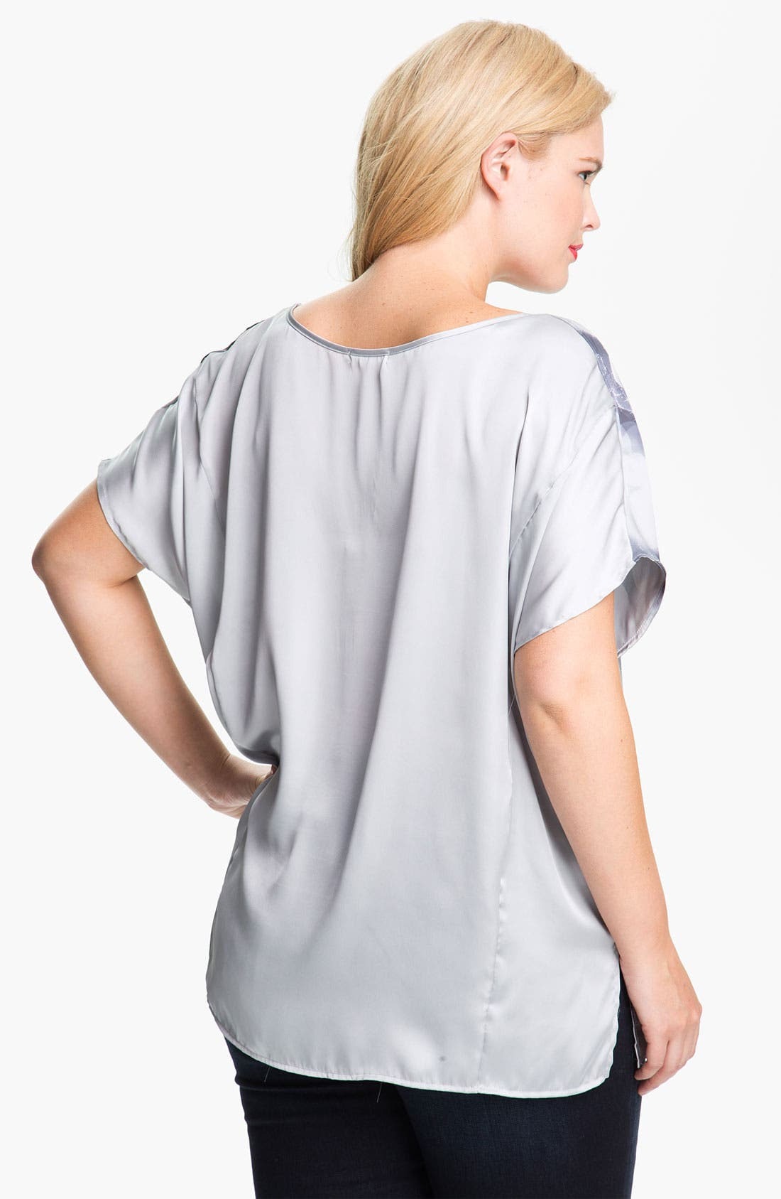 Alternate Image 2  - Pleione Graphic Print Asymmetrical Top (Plus Size)