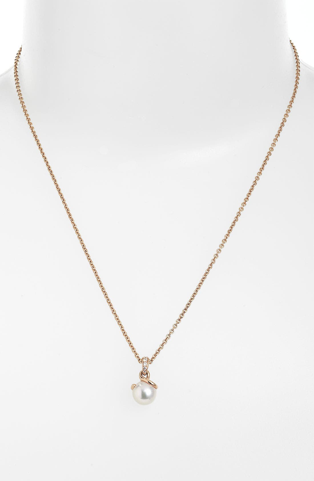 Alternate Image 1 Selected - Mikimoto Akoya Cultured Pearl & Diamond Pendant Necklace