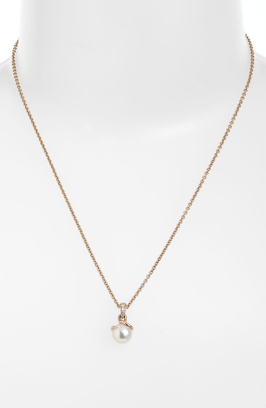Main Image - Mikimoto Akoya Cultured Pearl & Diamond Pendant Necklace